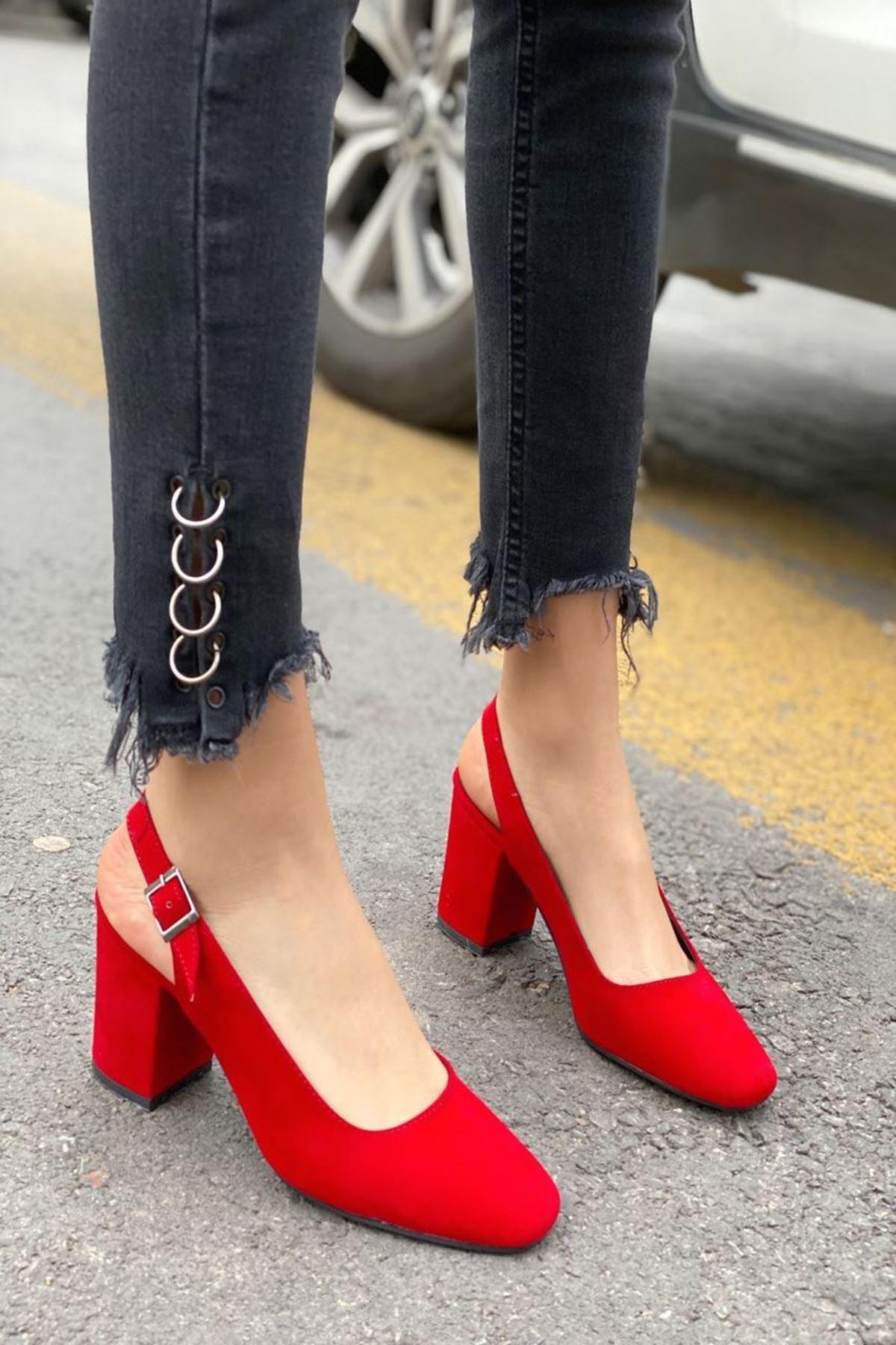 Kadın Volsa Kırmızı Süet Topuklu Ayakkabı