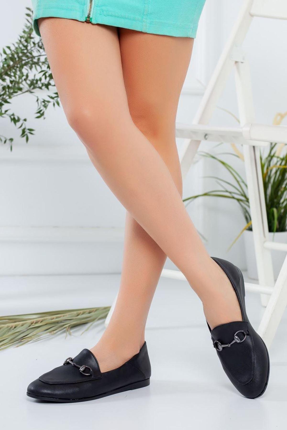 Kadın Dita Siyah Mat Deri Süet Günlük Ayakkabı
