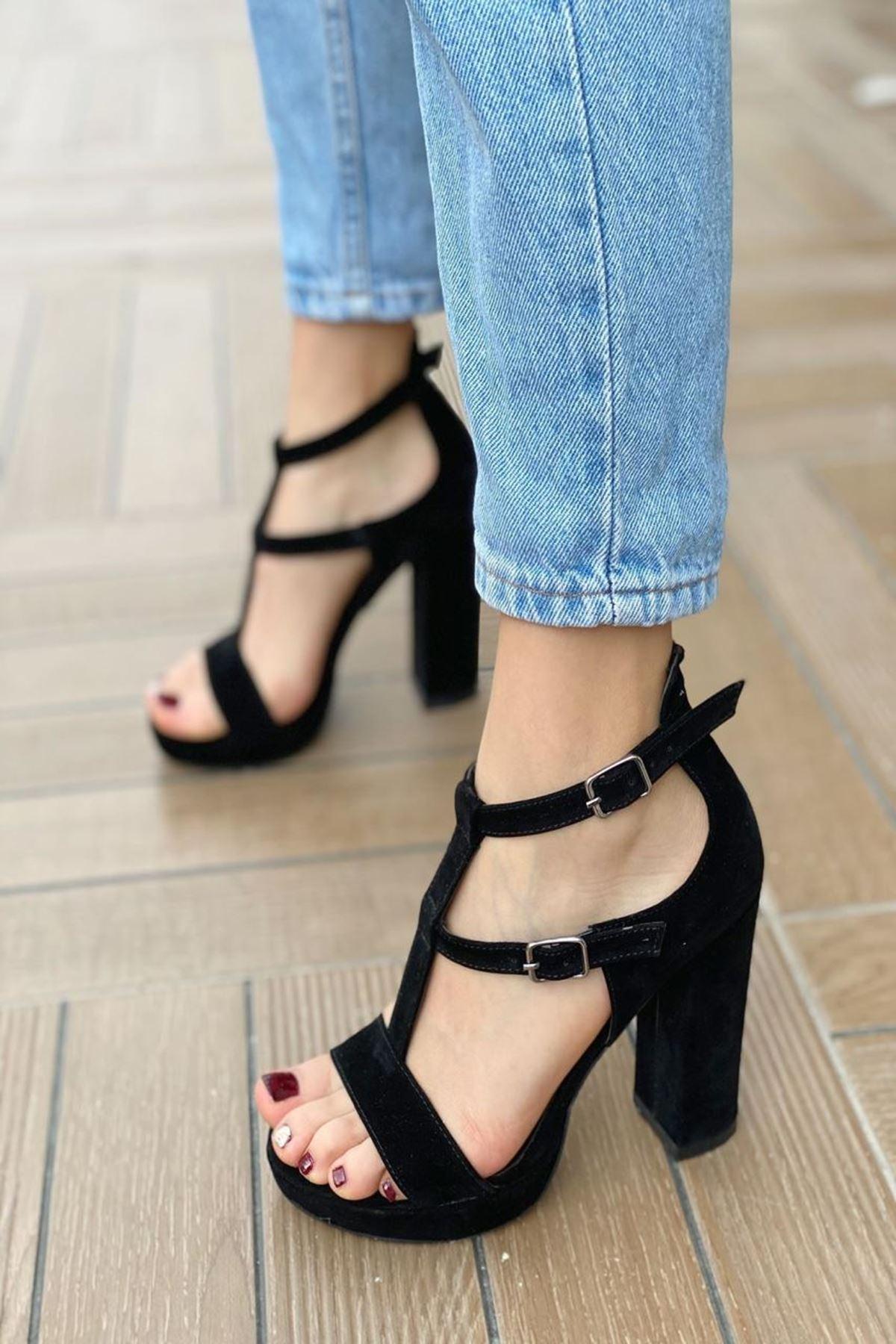 Kadın Celot Siyah Süet Topuklu Ayakkabı