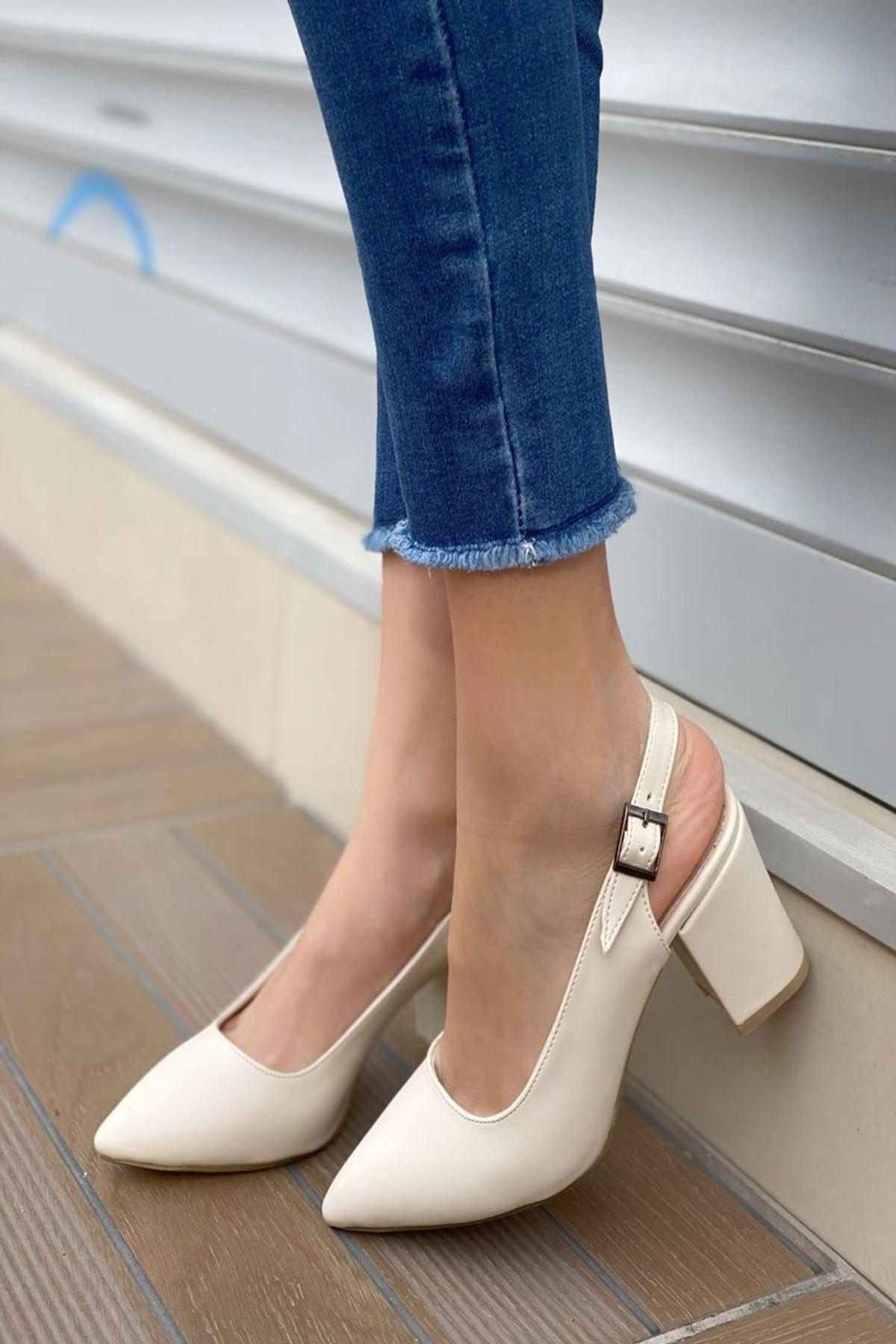 Kadın Varen Bej Deri Topuklu Ayakkabı
