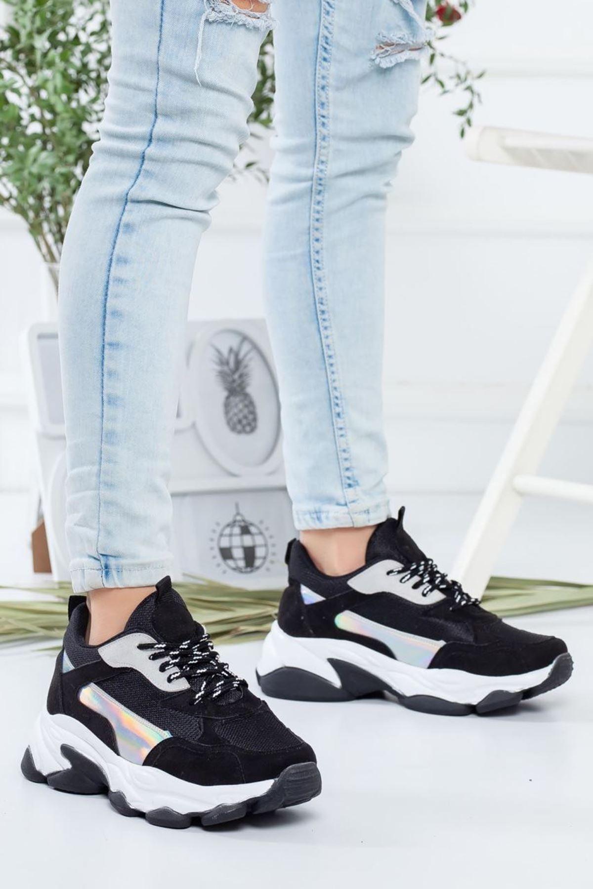 Kadın Reborn Siyah Kadın Sneakers Ayakkabı