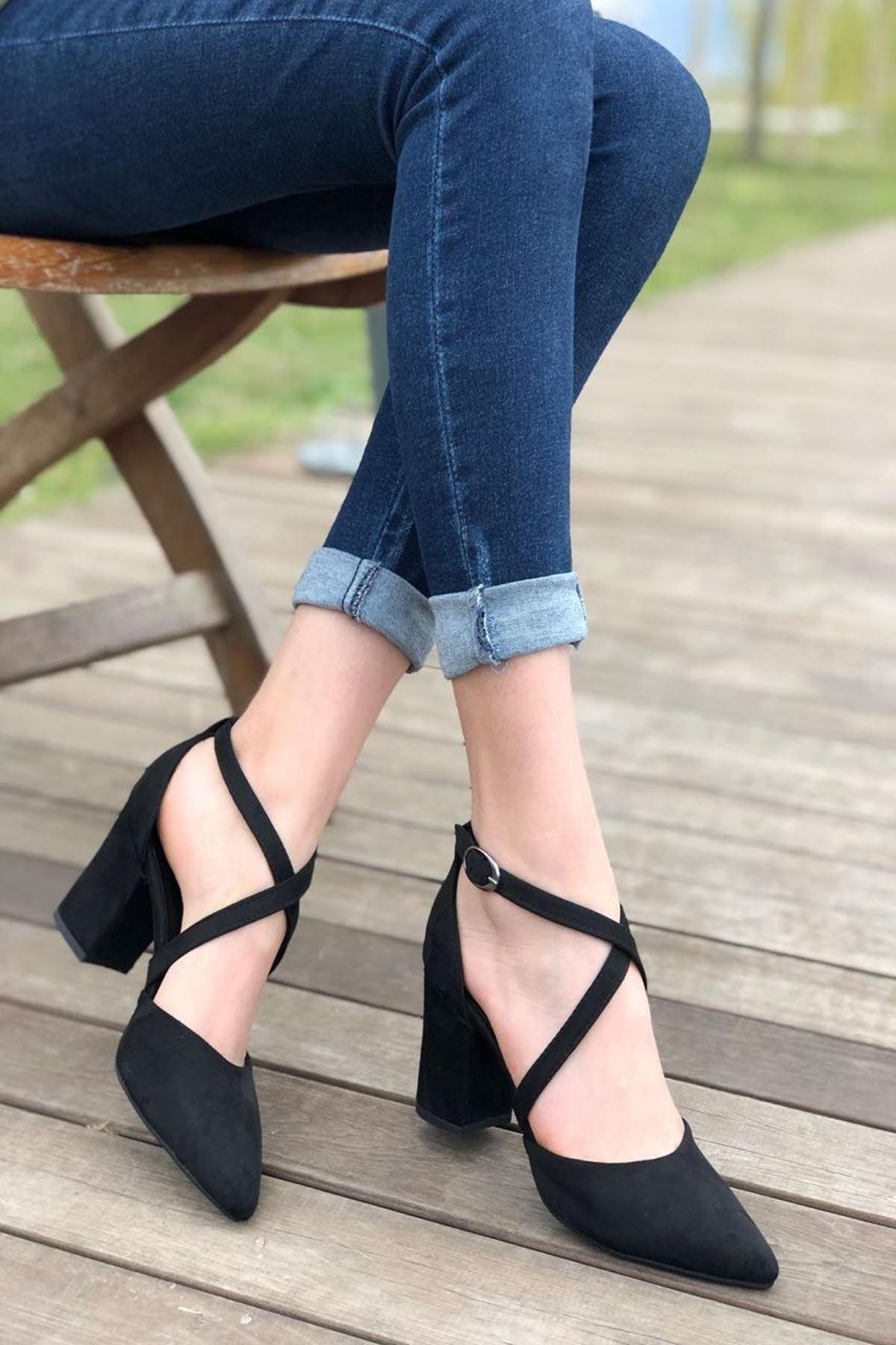 Kadın Time Siyah Süet Topuklu Ayakkabı
