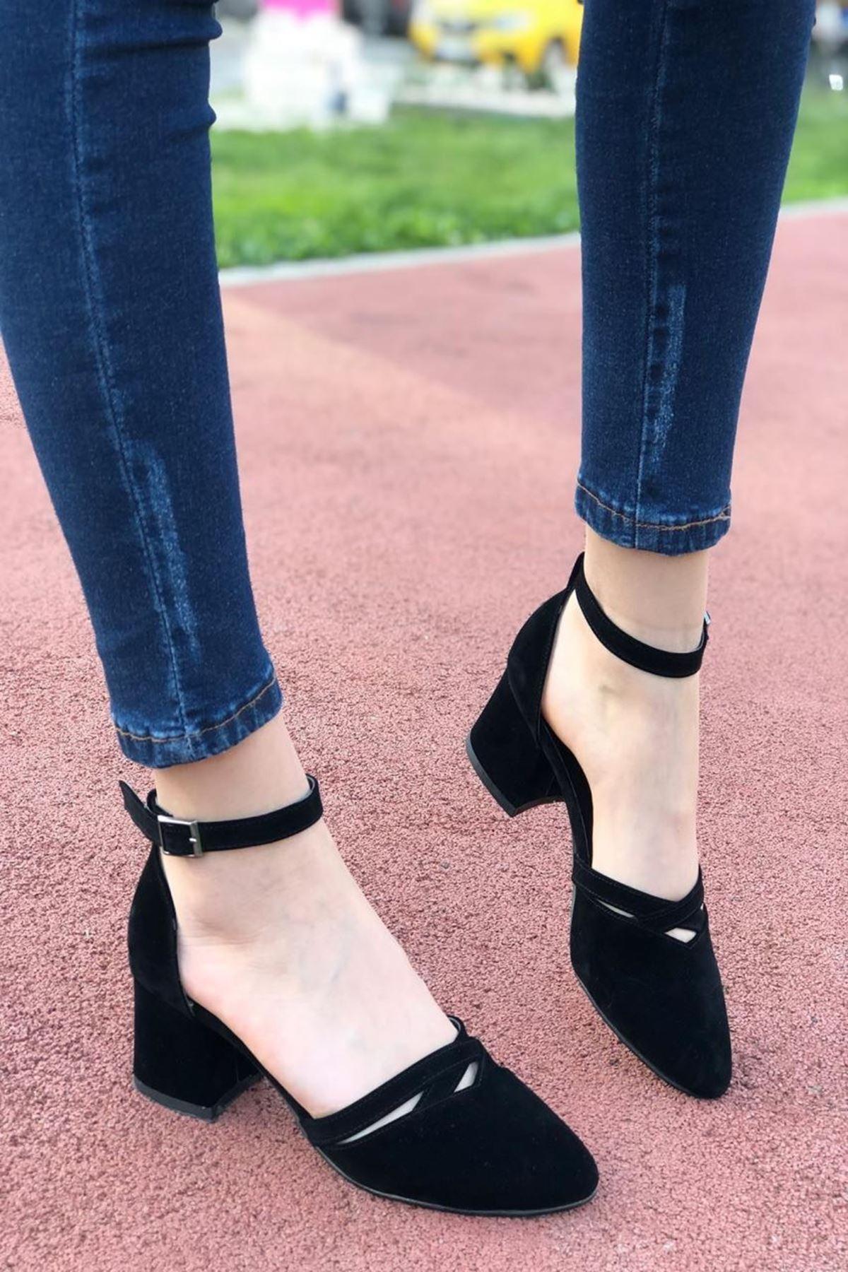 Kadın Lauso Siyah Süet Kısa Topuklu Ayakkabı