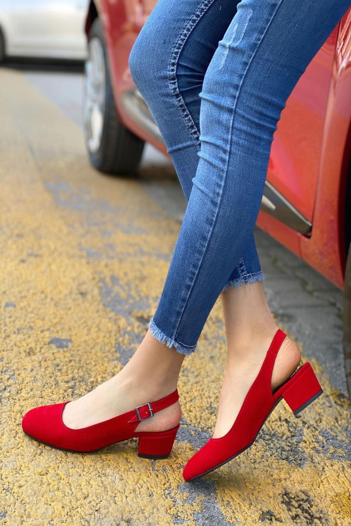 Kadın Merine Kırmızı Deri Kısa Topuklu Ayakkabı