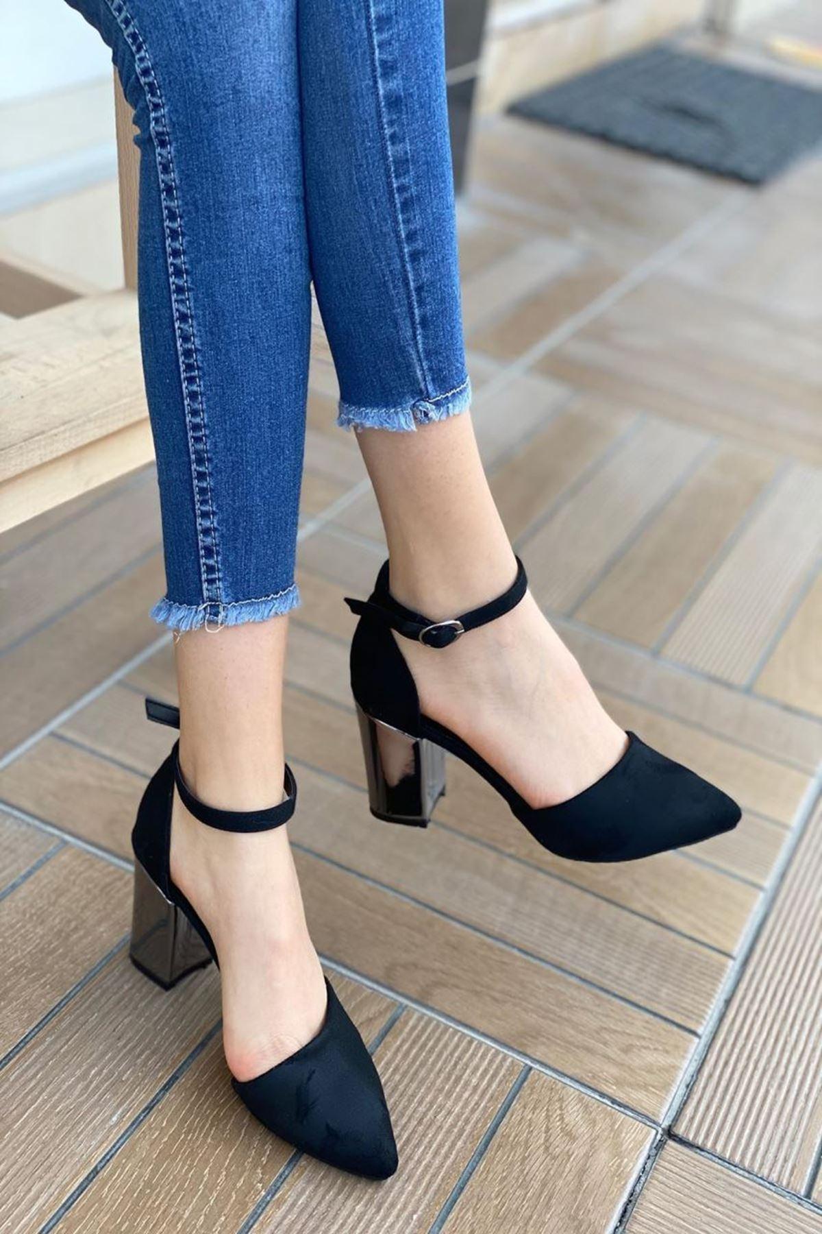 Kadın Celar Siyah Süet Parlak Topuklu Ayakkabı
