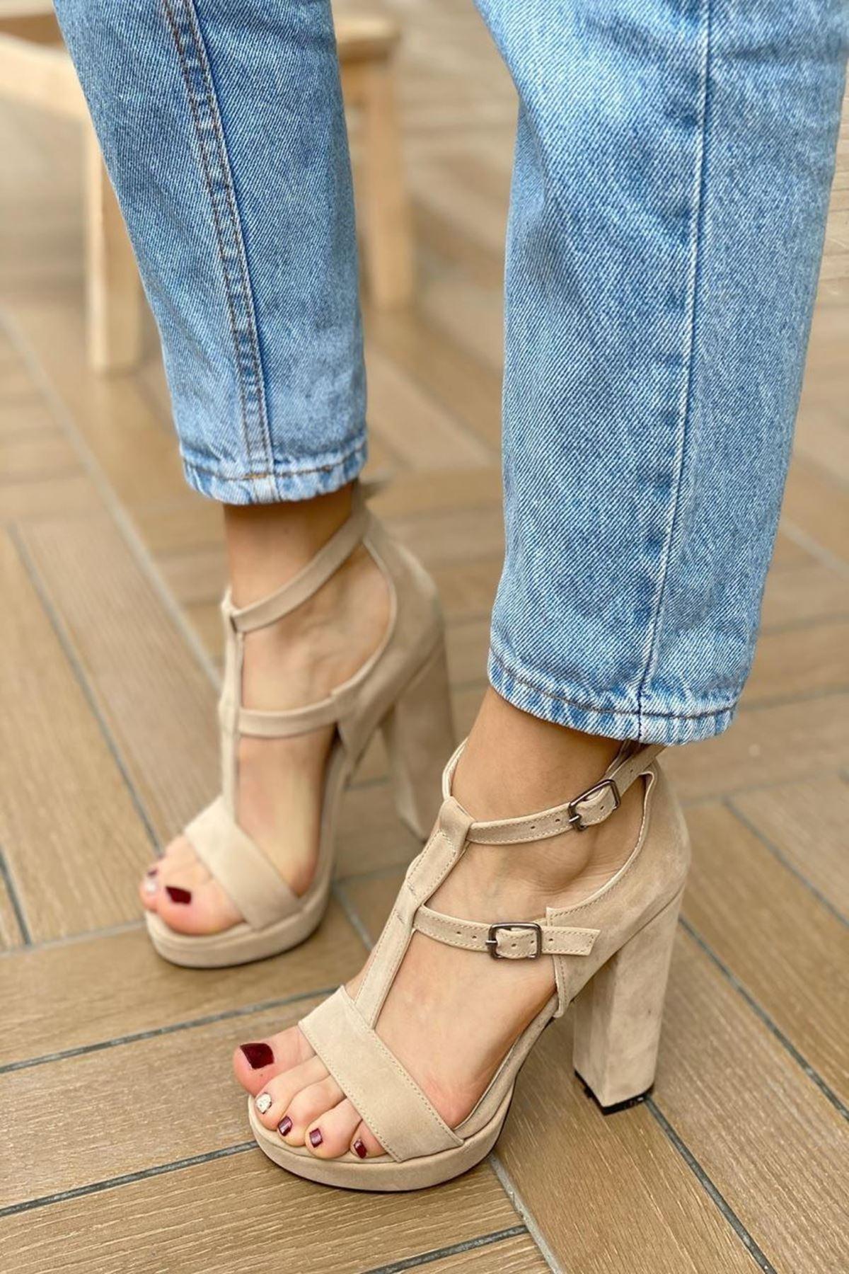 Kadın Celot Ten Süet Topuklu Ayakkabı