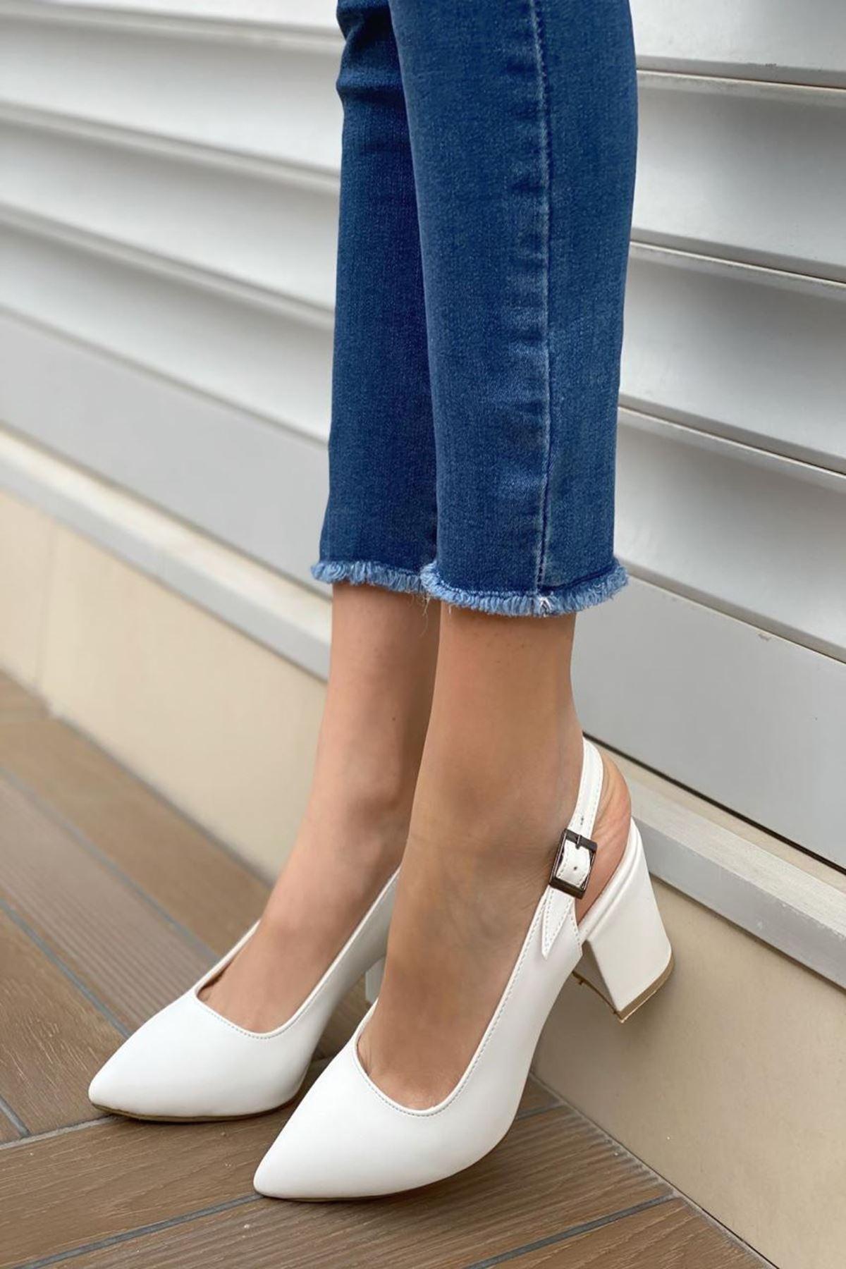 Kadın Varen Beyaz Deri Topuklu Ayakkabı