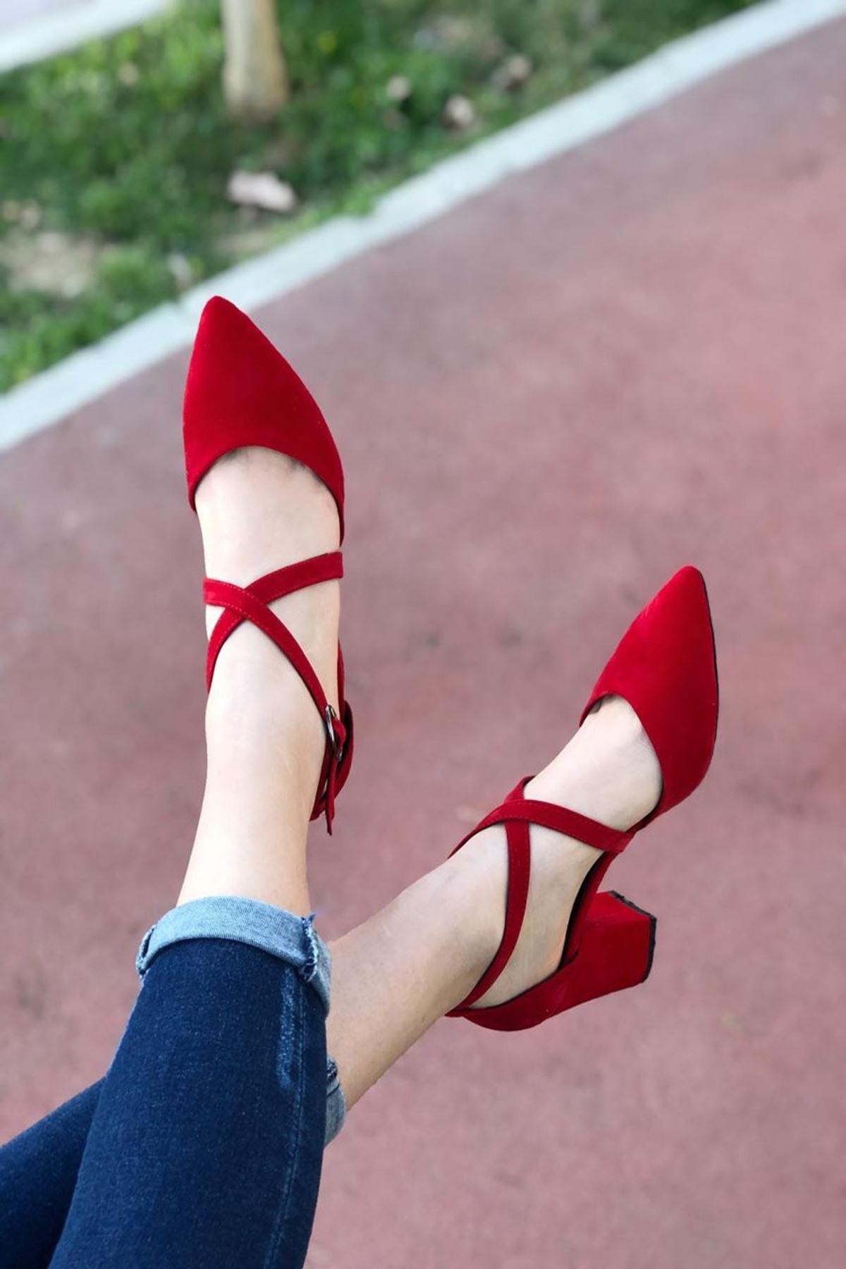 Kadın Time Kırmızı Süet Topuklu Ayakkabı