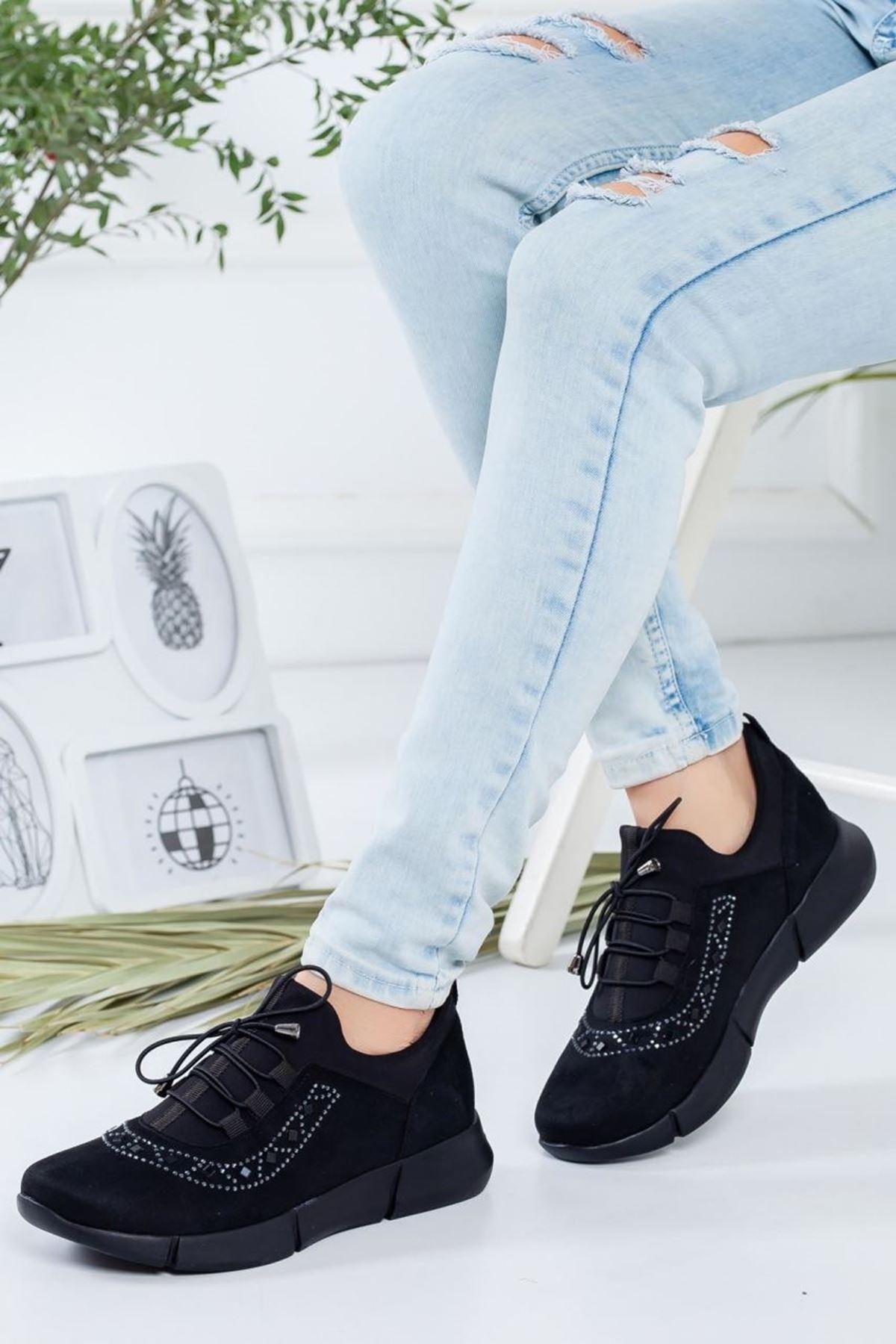 Kadın Perdi Siyah Günlük Ayakkabı