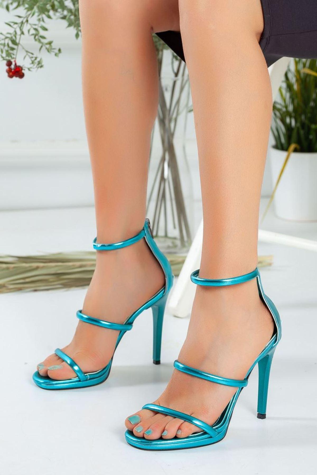 Kadın Melus Mat Deri İnce Bant Detaylı Yüksek Topuklu Metalik Mavi