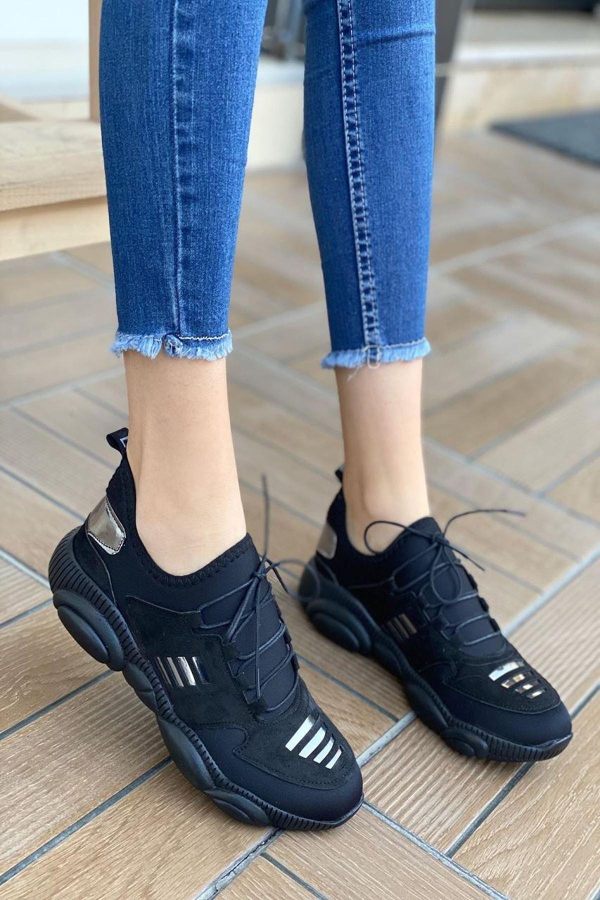 Kadın Kalipso Şerit Desenli Siyah Günlük Ayakkabı