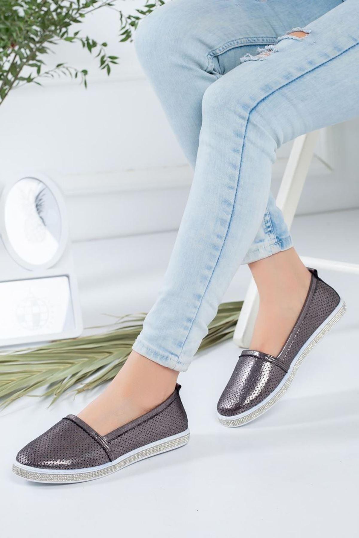 Kadın Rosal Antrasit Babet Günlük Ayakkabı