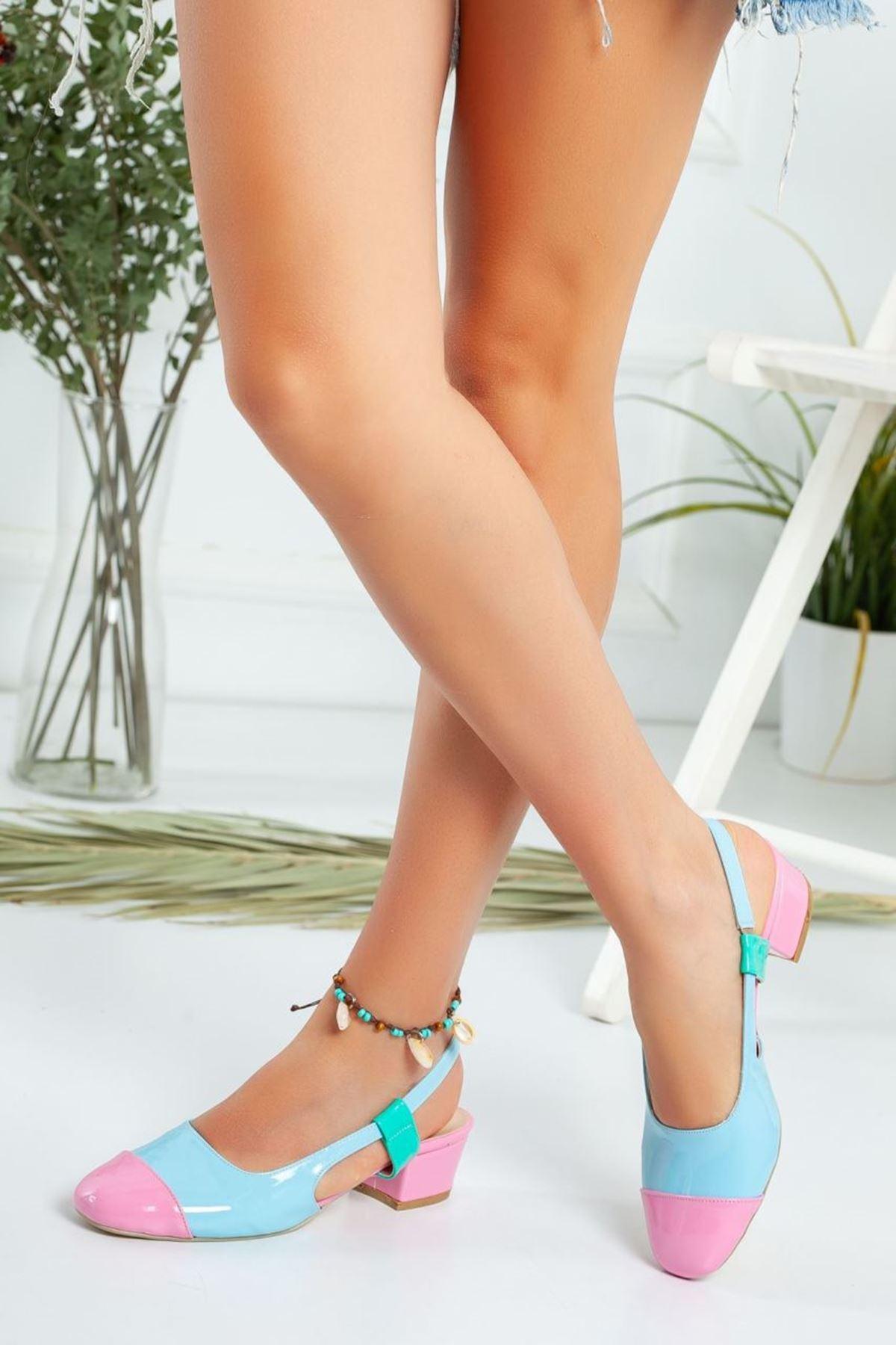 Kadın Edis Kısa Topuklu Ayakkabı Mavi Rugan