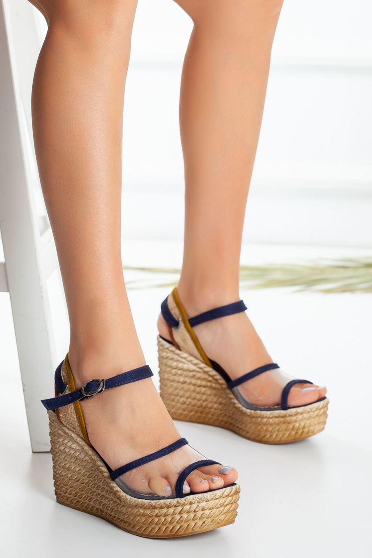 Kadın Venetta Dolgu Taban Şeffaf Ayakkabı Lacivert