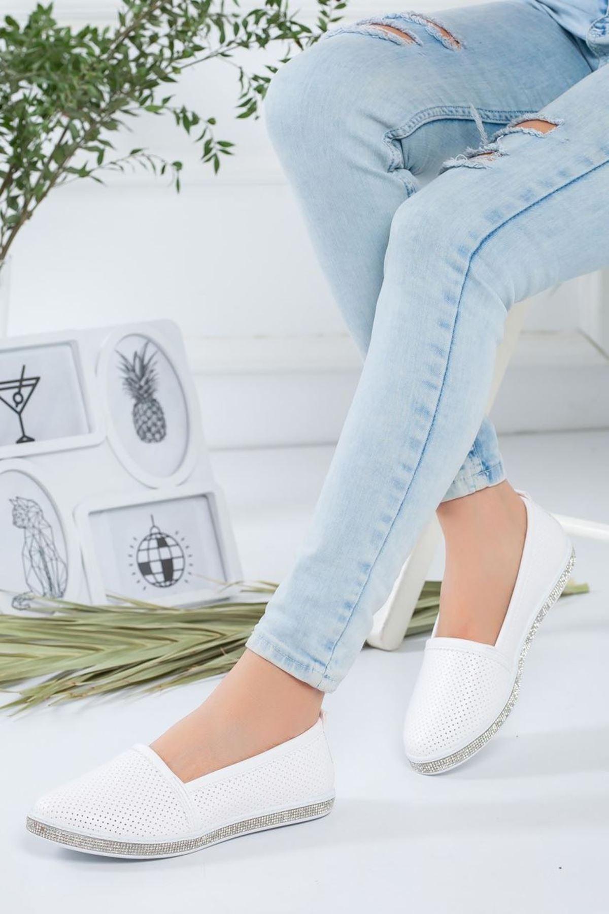 Kadın Rosal Beyaz Babet Günlük Ayakkabı
