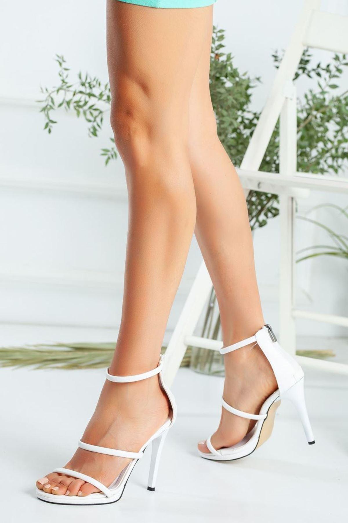 Kadın Melus Mat Deri İnce Bant Detaylı Yüksek Topuklu Beyaz