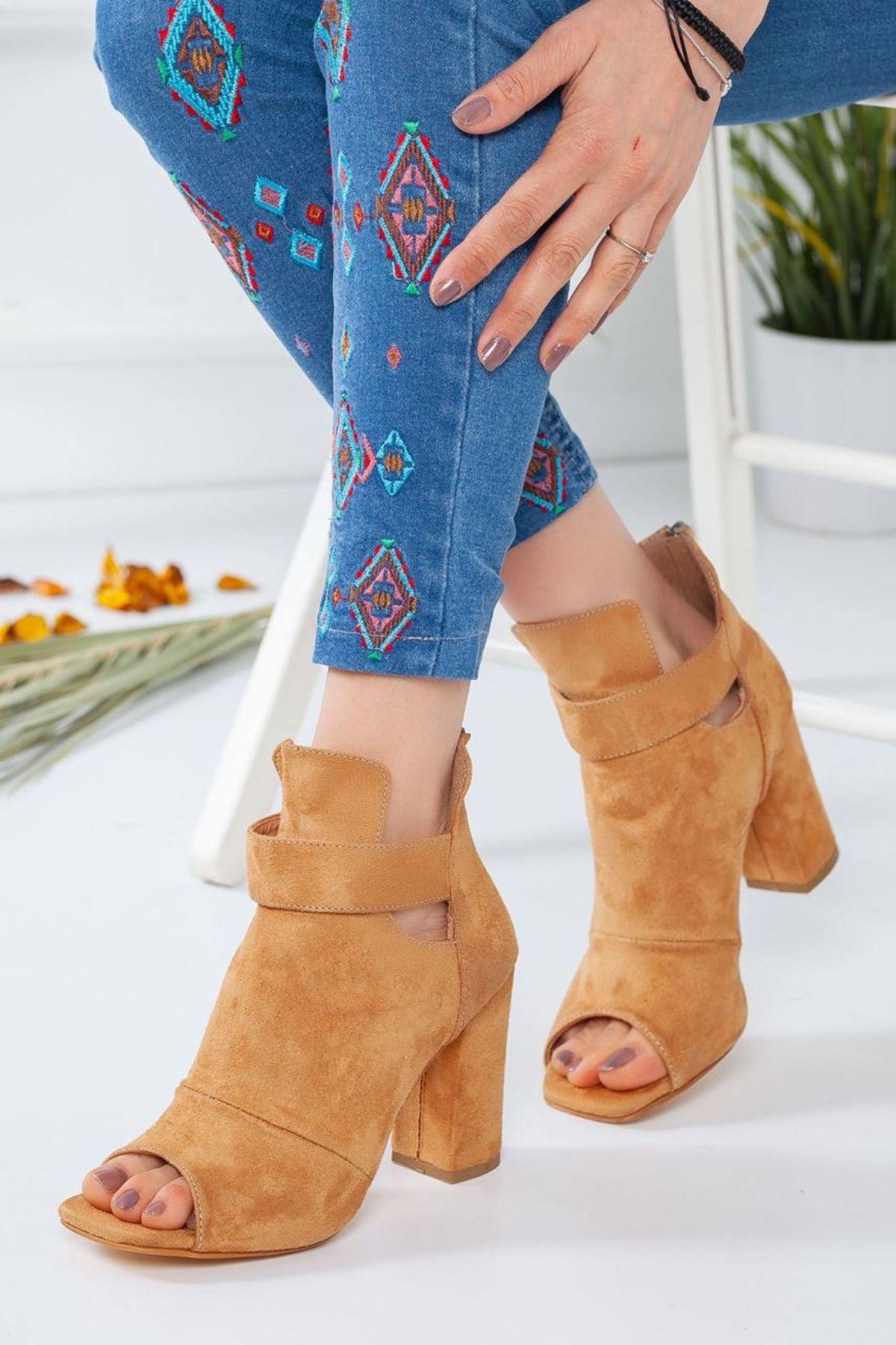 Kadın Miranda Süet Topuklu Ayakkabı Camel