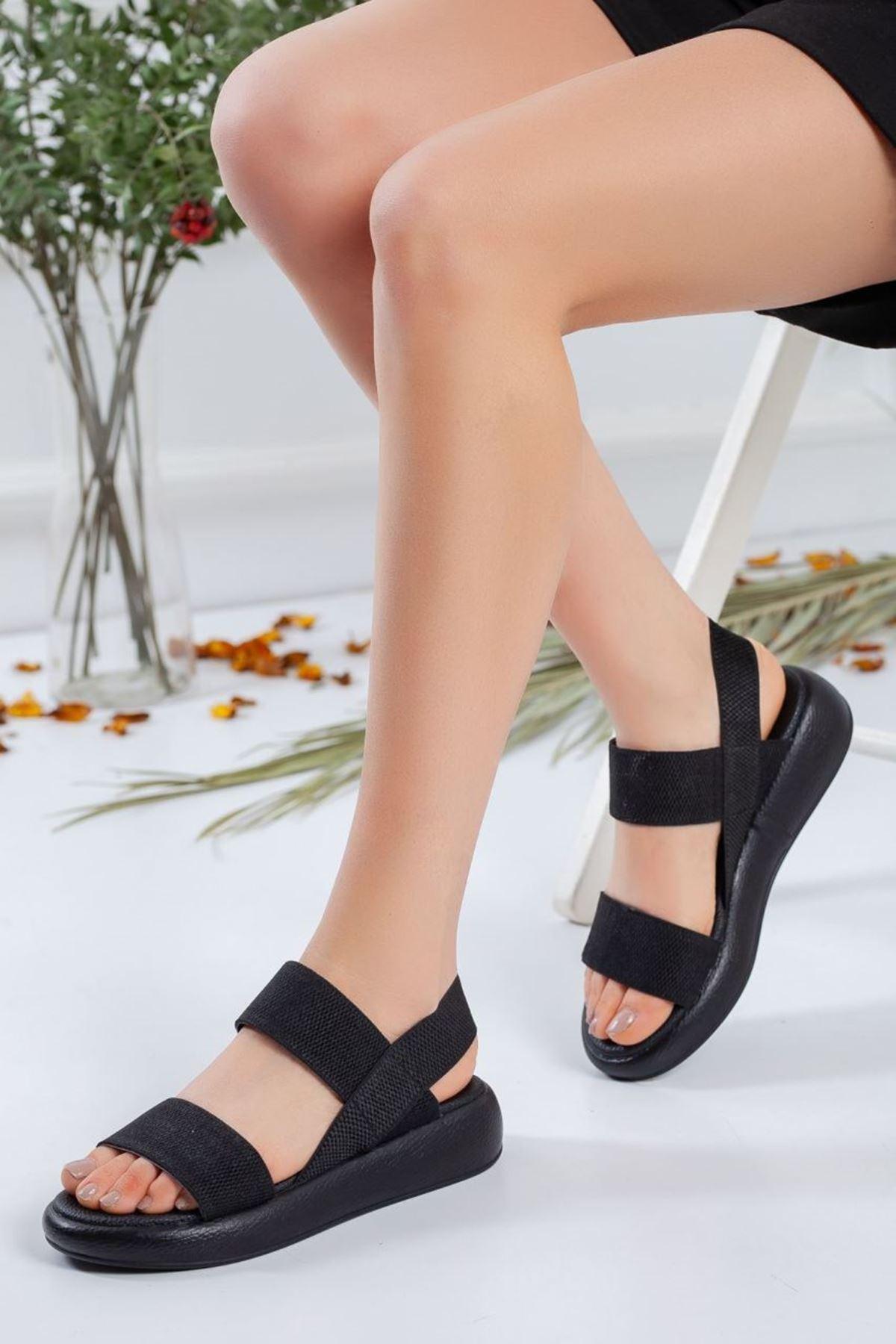 Kadın Alegra Lastik Detay Sandalet Siyah