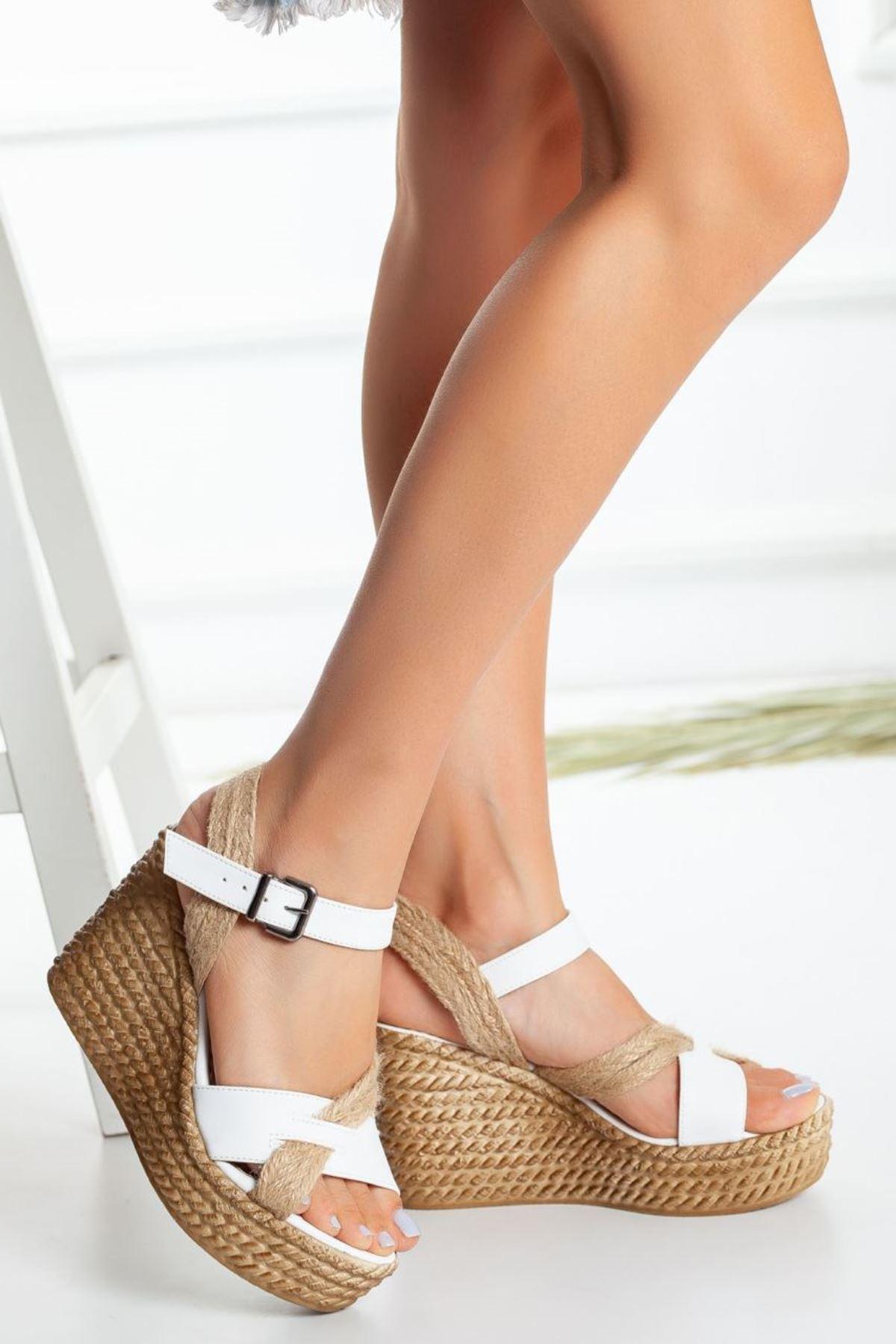 Kadın Pines Dolgu Topuk Ayakkabı Beyaz Hasır