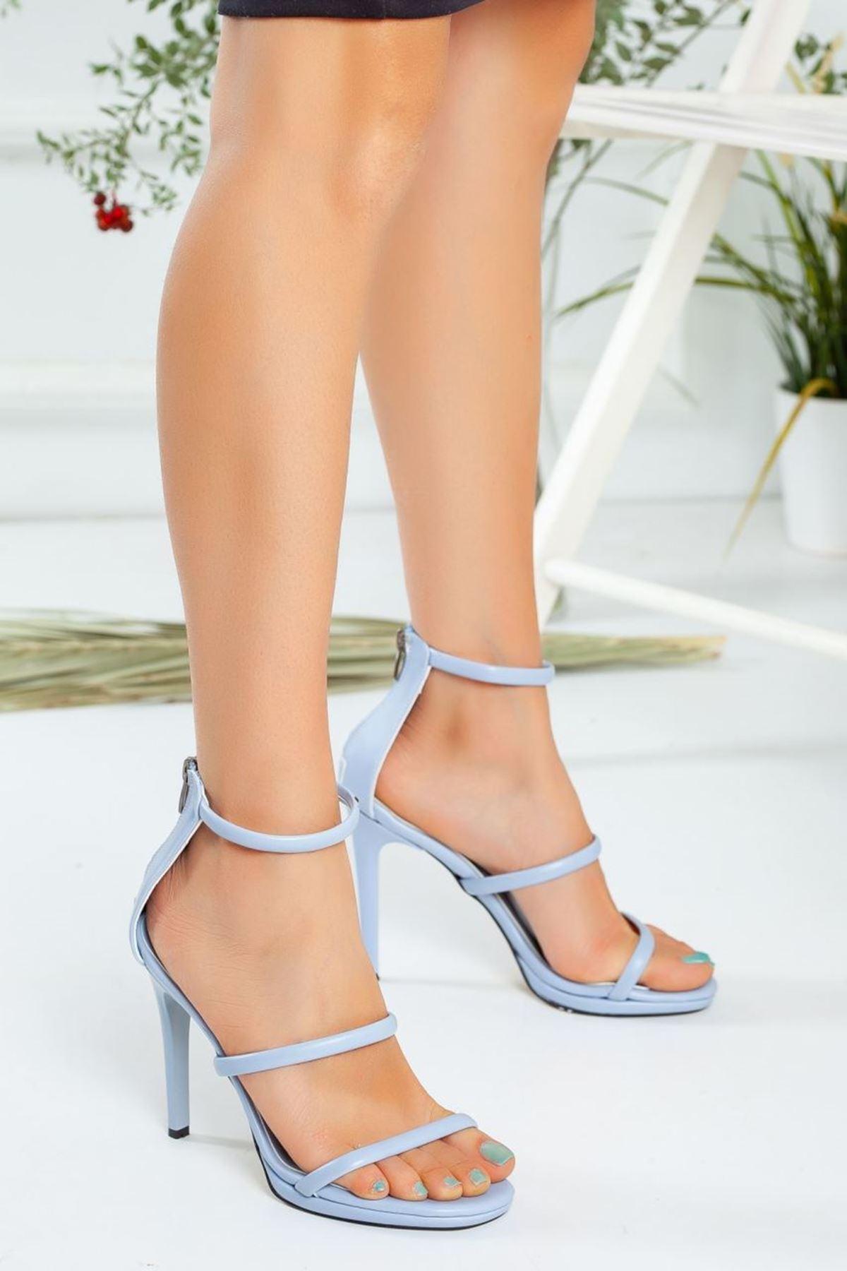 Kadın Melus Mat Deri İnce Bant Detaylı Yüksek Topuklu Mavi