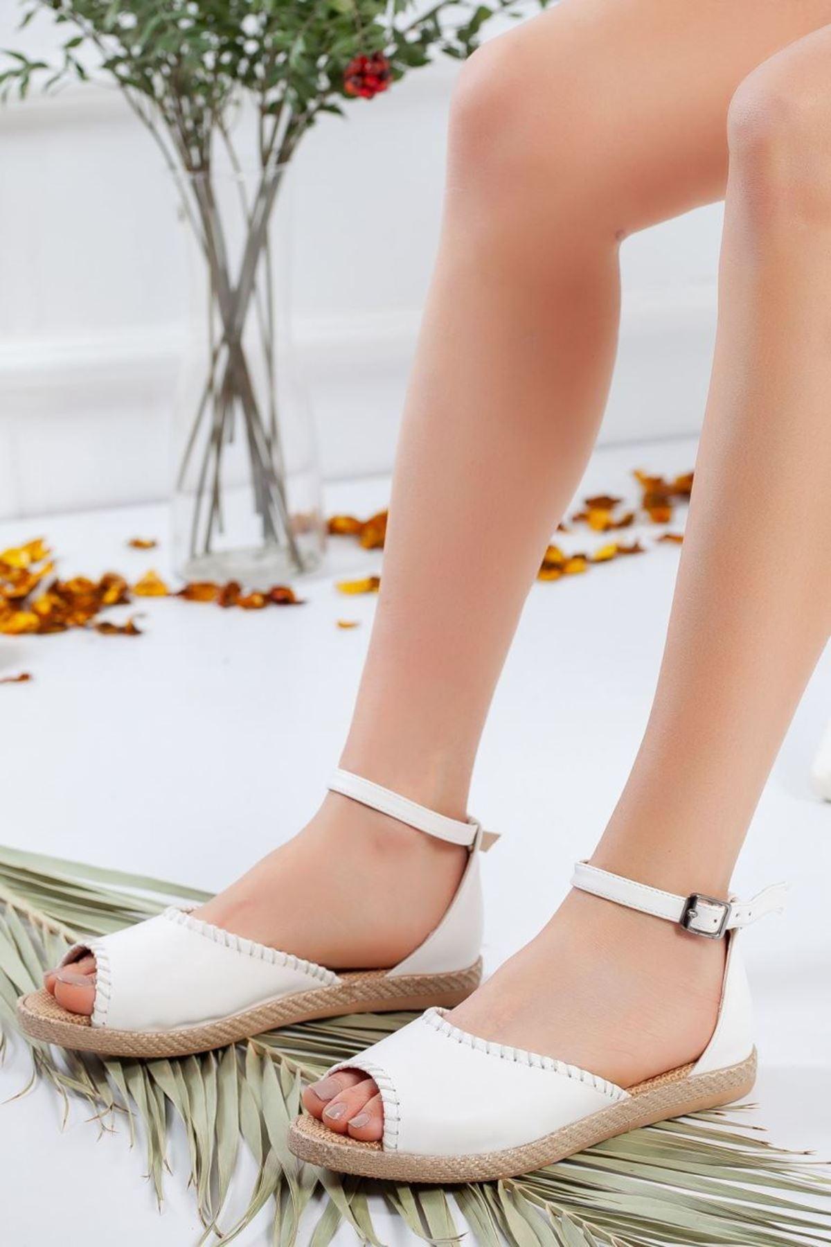Kadın Lima Mat Deri Dikiş Detay Kadın Günlük Ayakkabı Beyaz