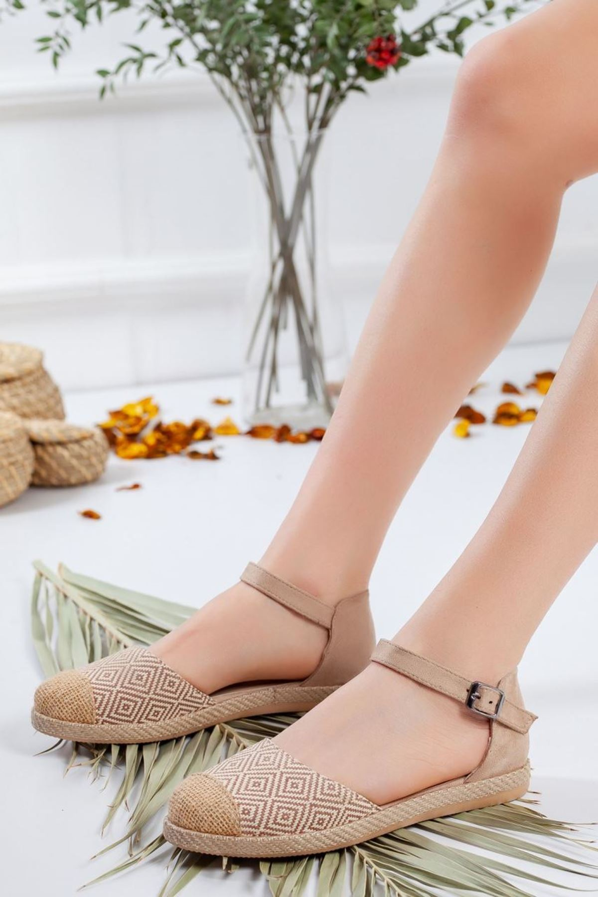 Kadın Rika Tekstil Malzeme Kadın Günlük Ayakkabı Hasır Detay Vizon