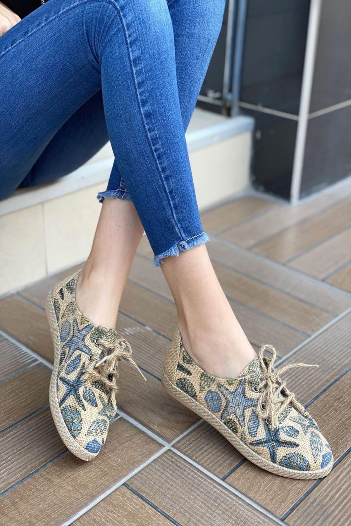 Kadın Tolero  Yıldızlı Desen Günlük Ayakkabı