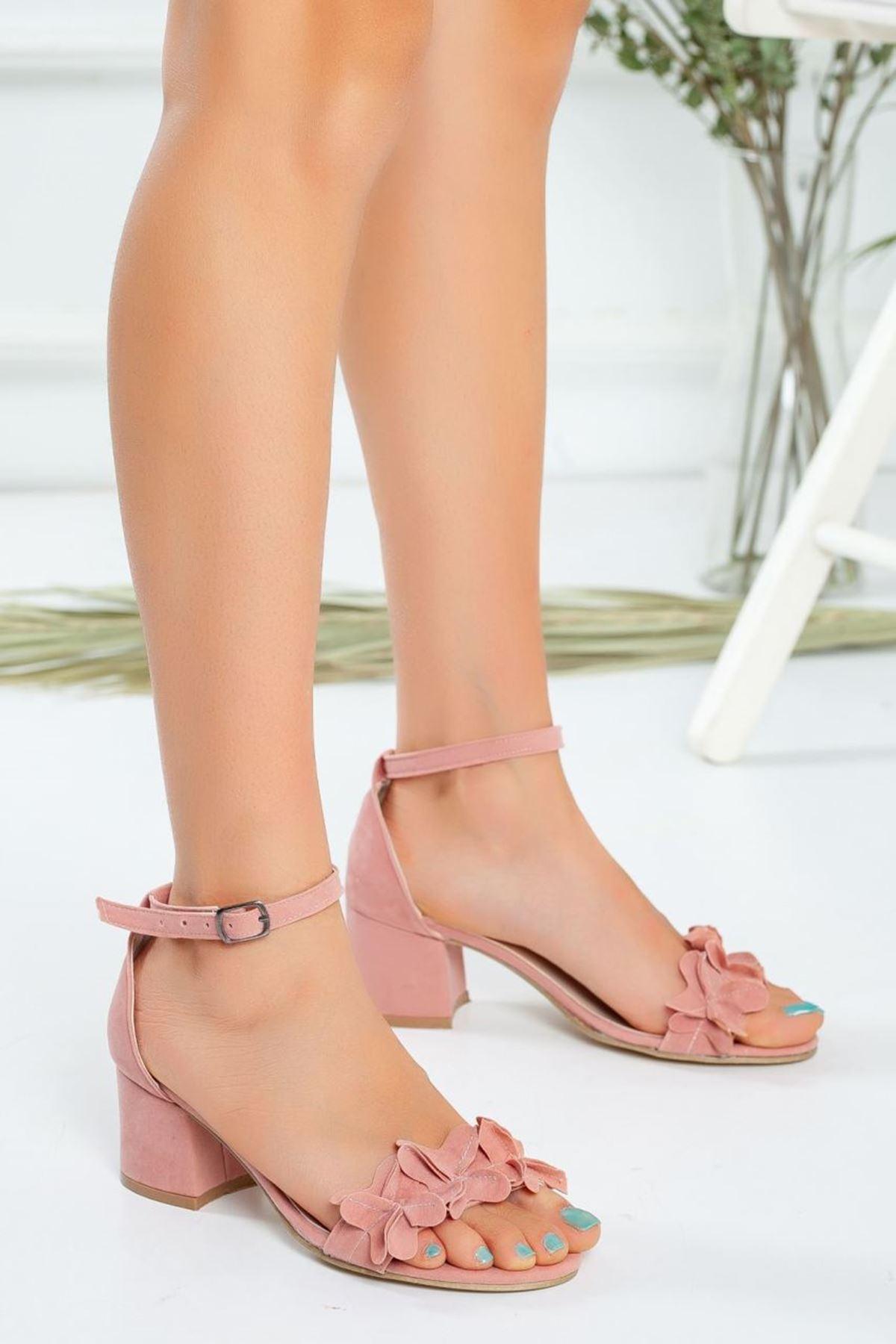 Kadın Sala Kısa Topuklu Ayakkabı Pudra Süet