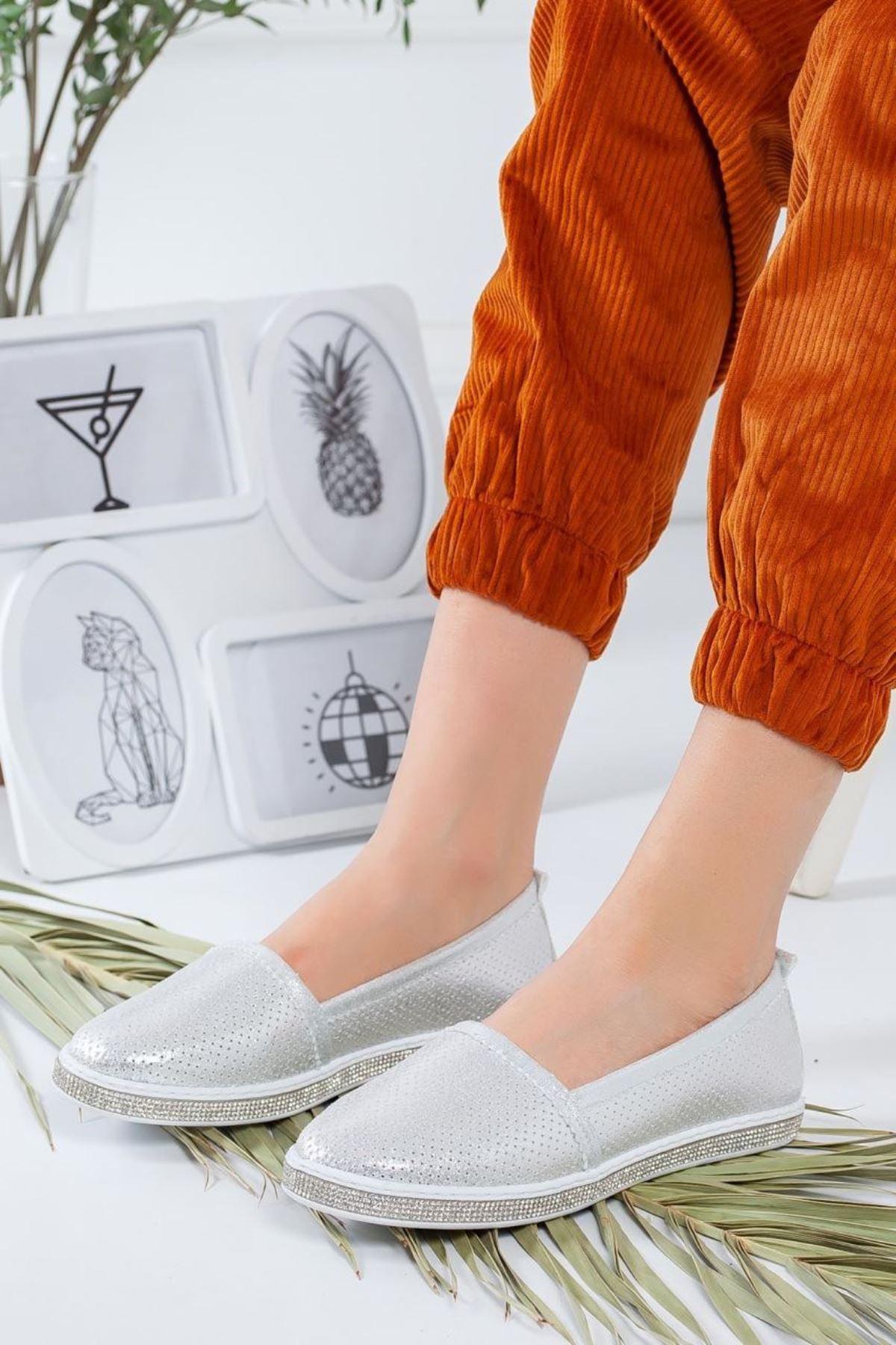 Kadın Rosal Gümüş Babet Günlük Ayakkabı