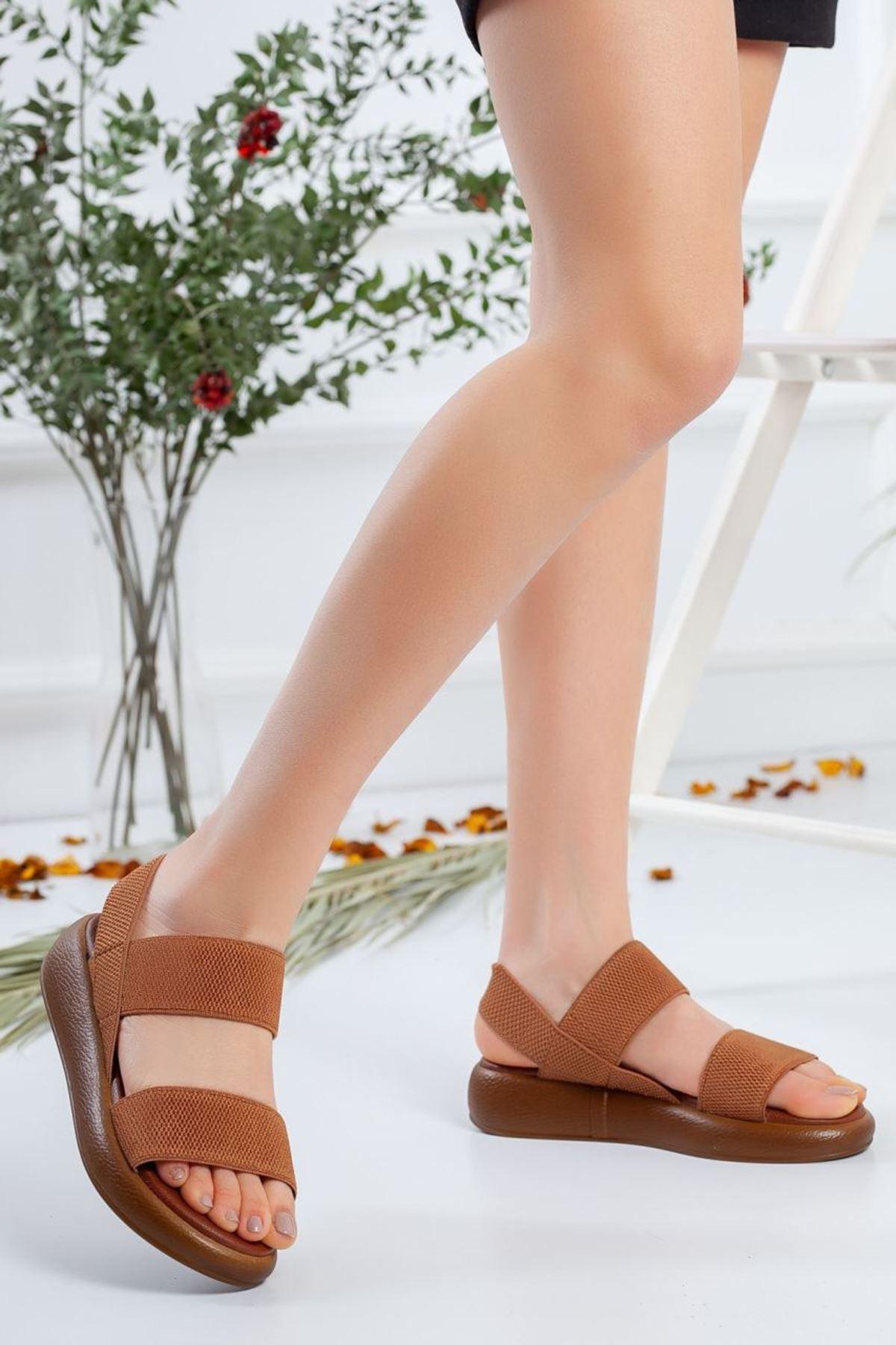 Kadın Alegra Lastik Detay Sandalet Taba