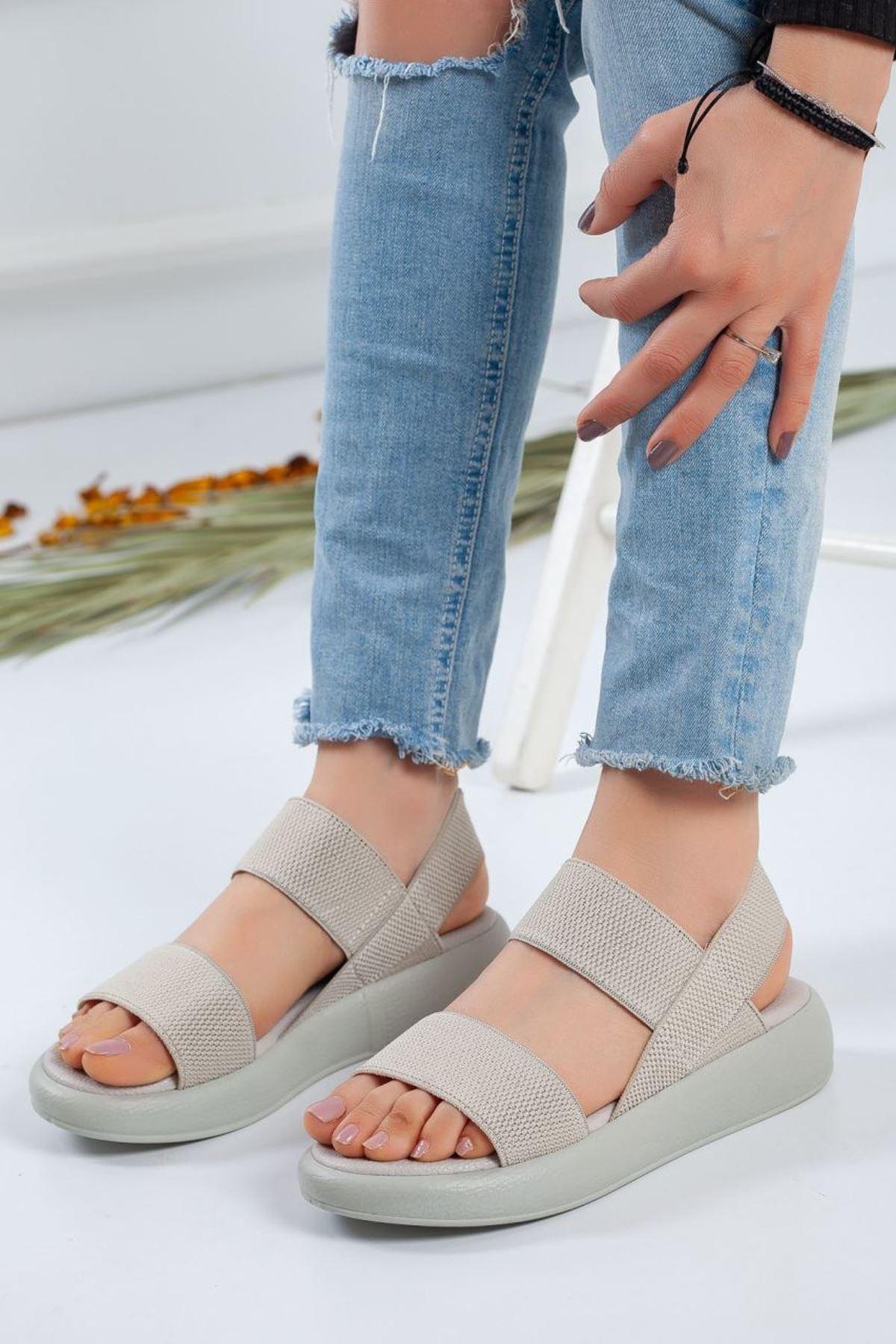Kadın Alegra Lastik Detay Sandalet Gri