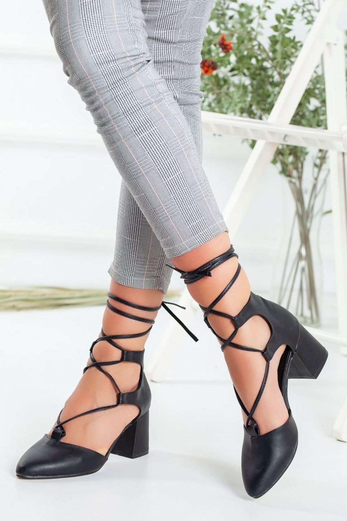 Kadın Kathi Hafif Topuklu Ayakkabı Mat Deri Siyah
