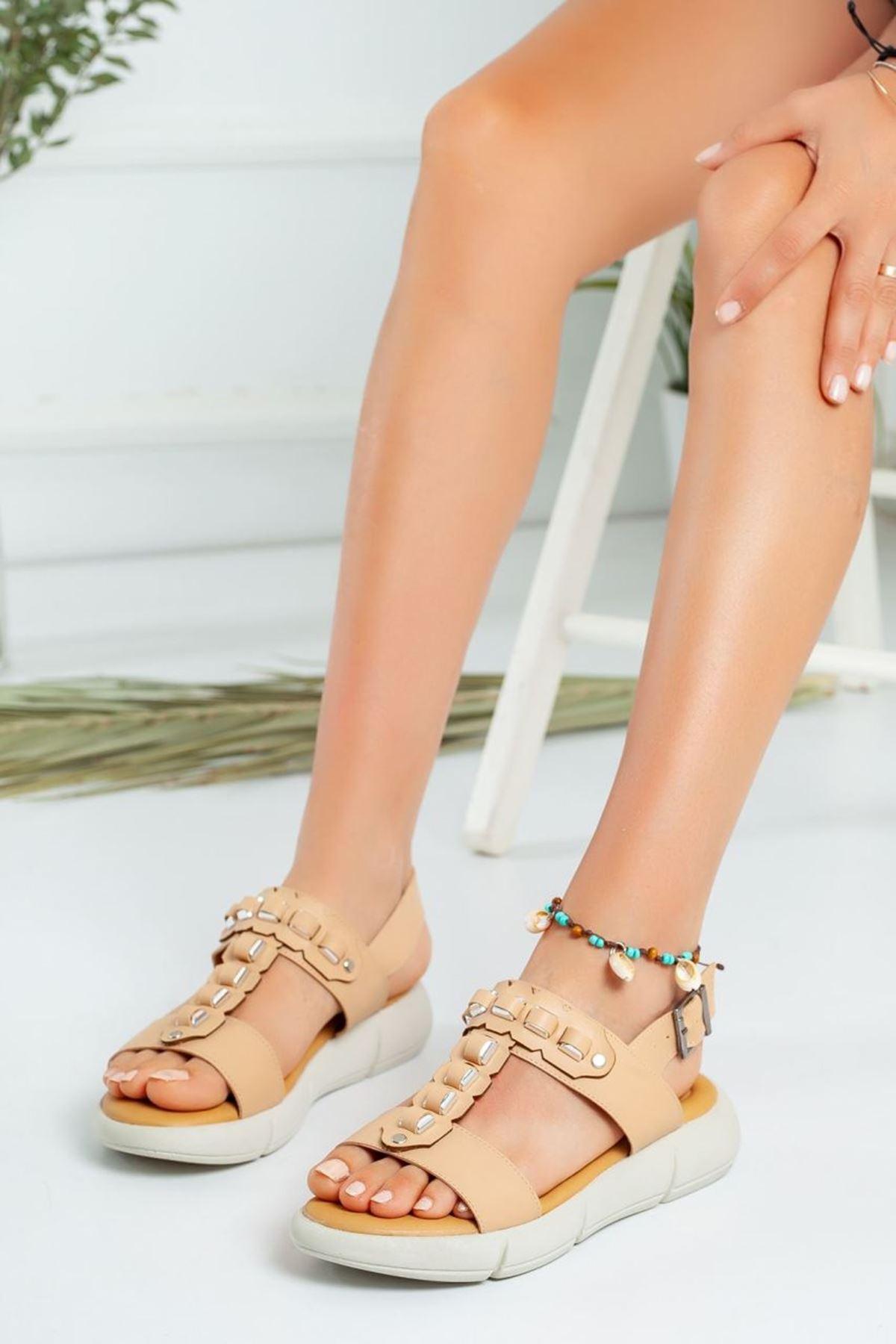 Kadın Latina Kemerli Sandalet Nude