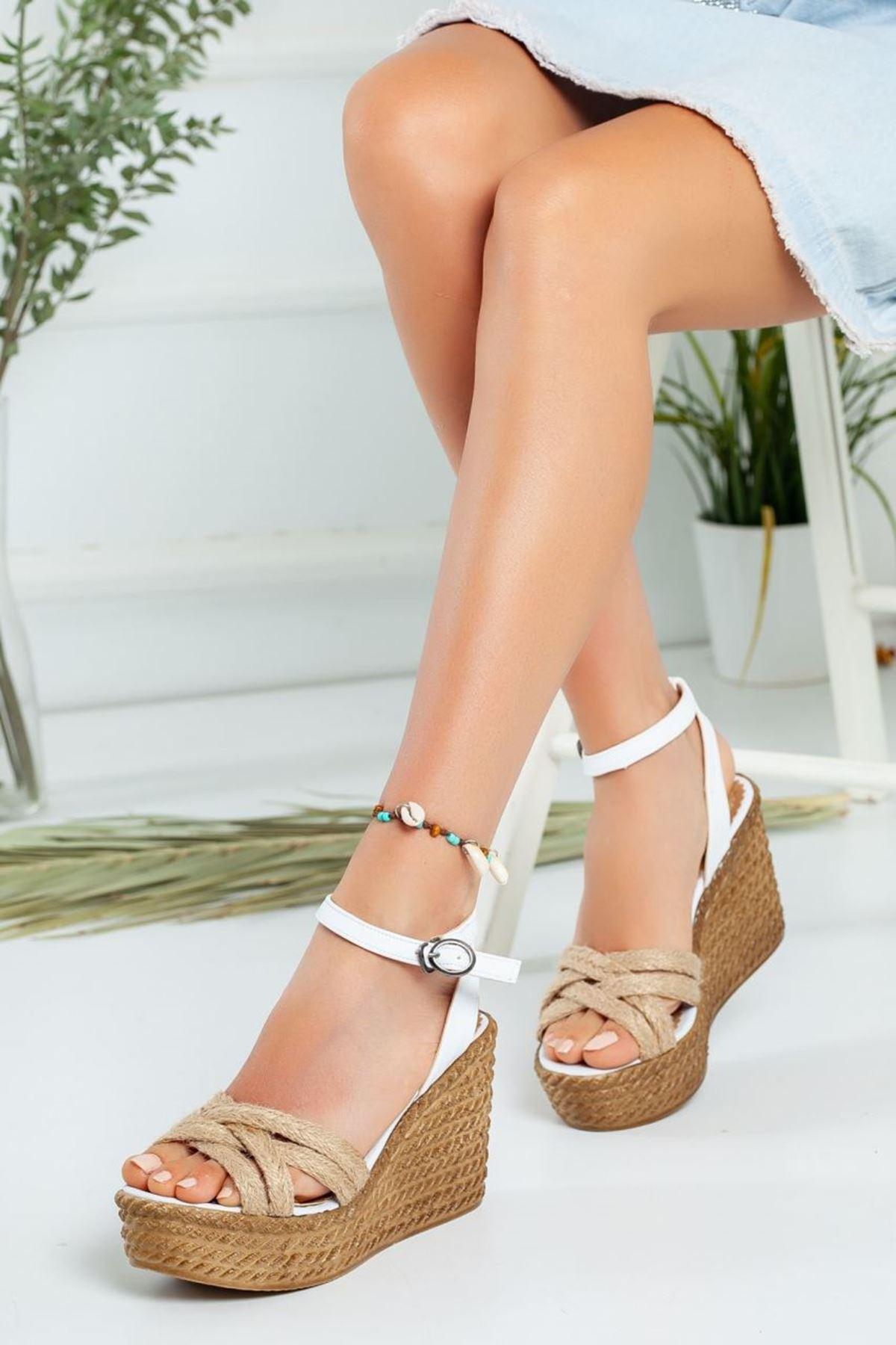Kadın Oggi Dolgu Taban Ayakkabı BeyazHasır