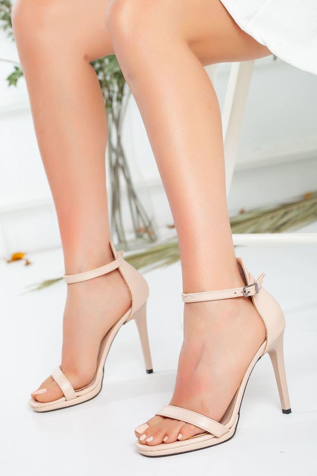 Kadın Natis Yüksek Topuklu Ayakkabı Mat Deri Ten