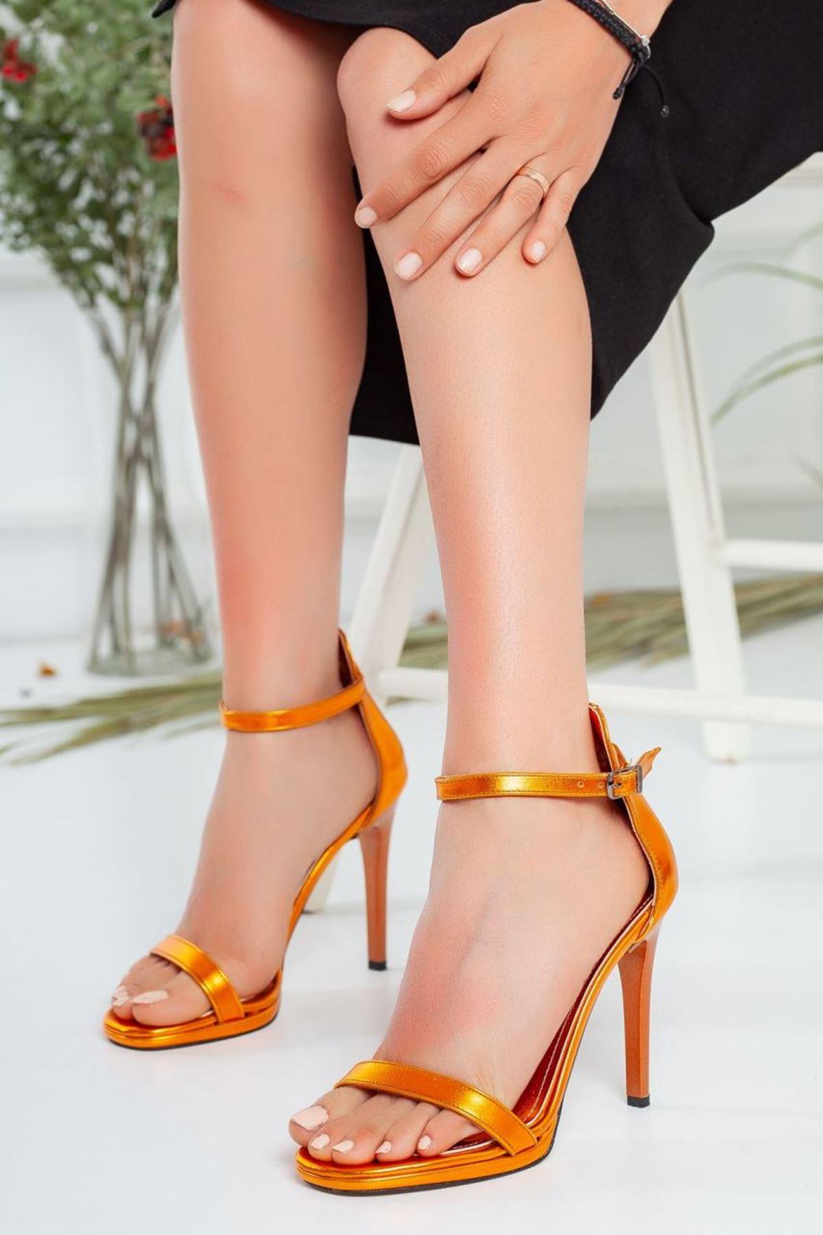 Kadın Natis Yüksek Topuklu Ayakkabı Metalik Turuncu
