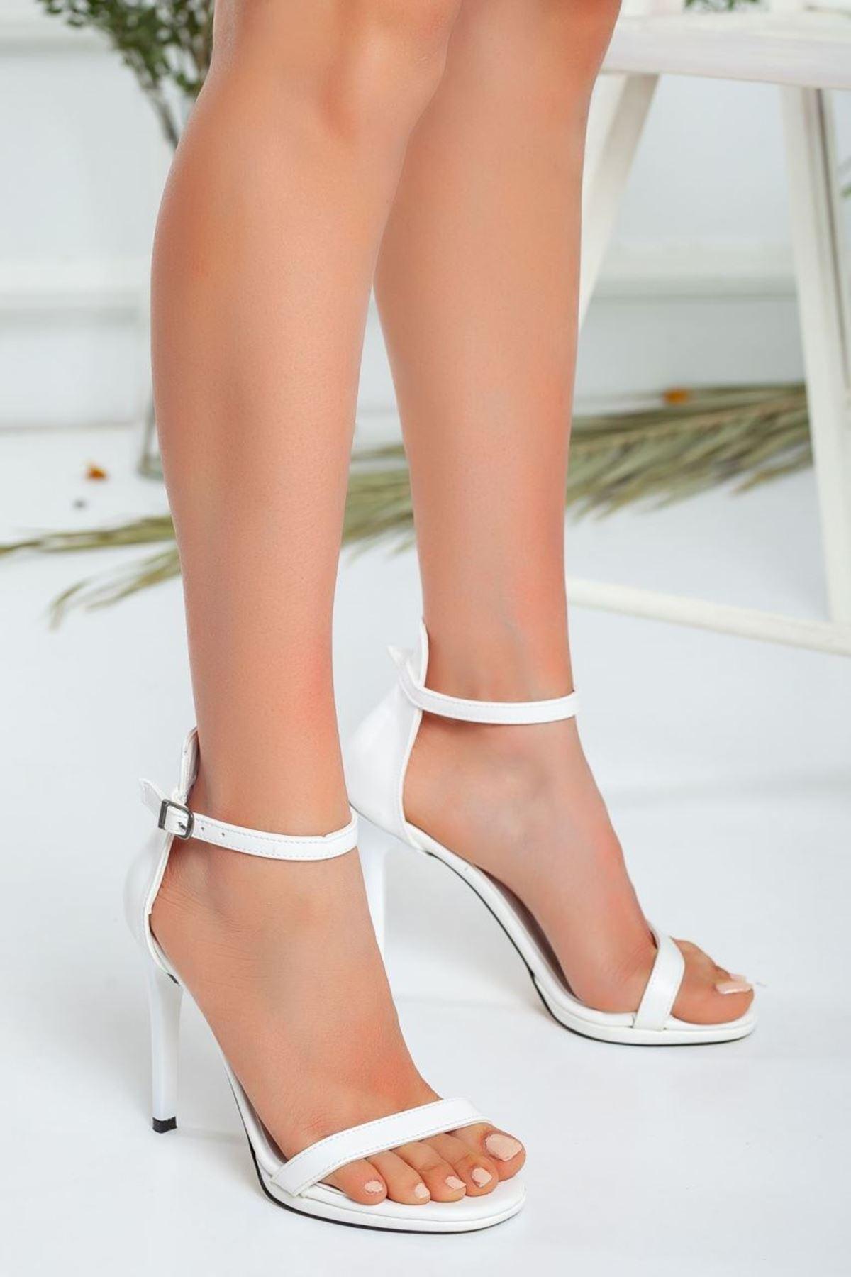 Kadın Natis Yüksek Topuklu Ayakkabı Mat Deri Beyaz