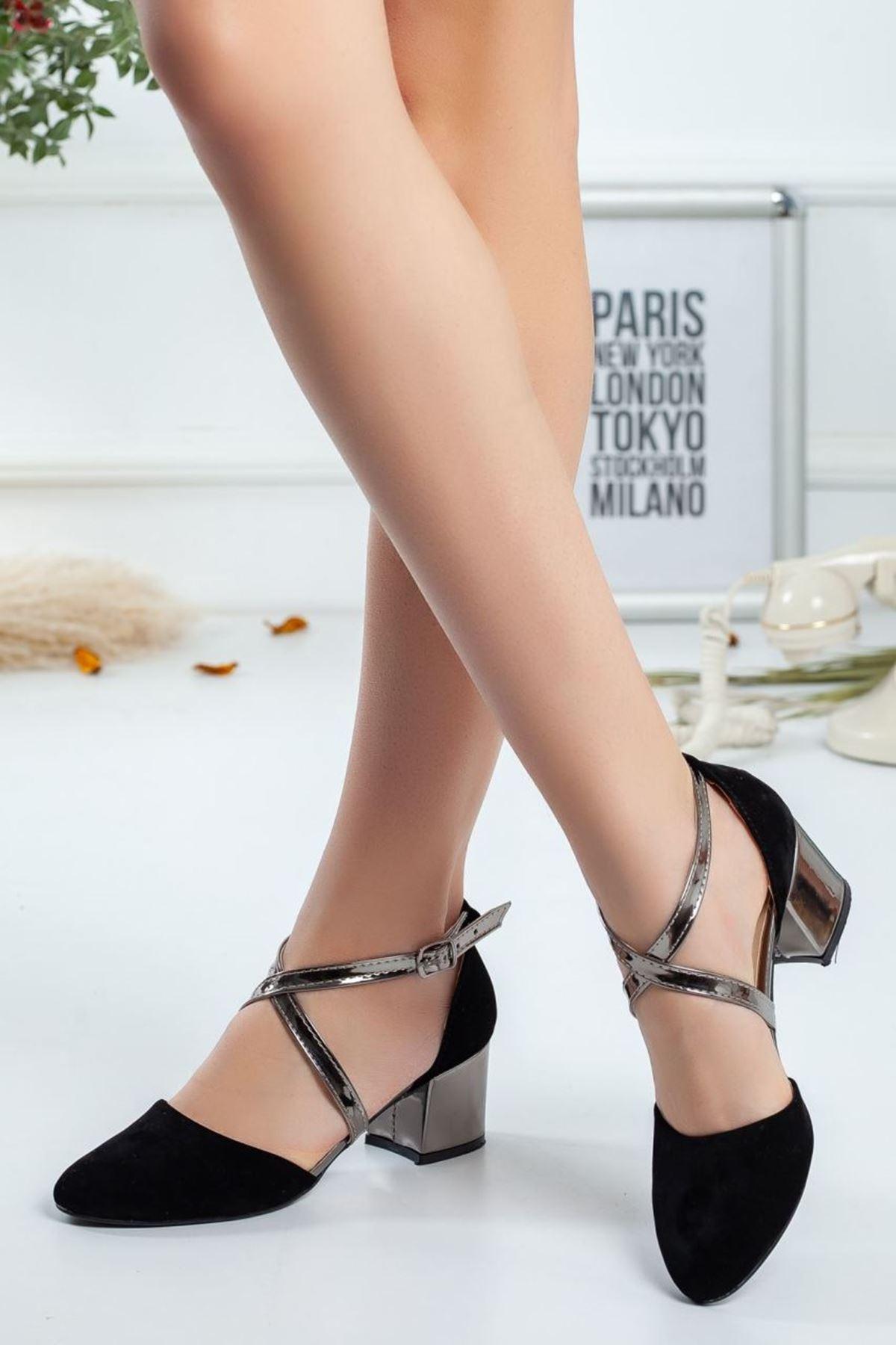 Kadın Albe  Hafif Topuklu Ayakkabı Syah Süet