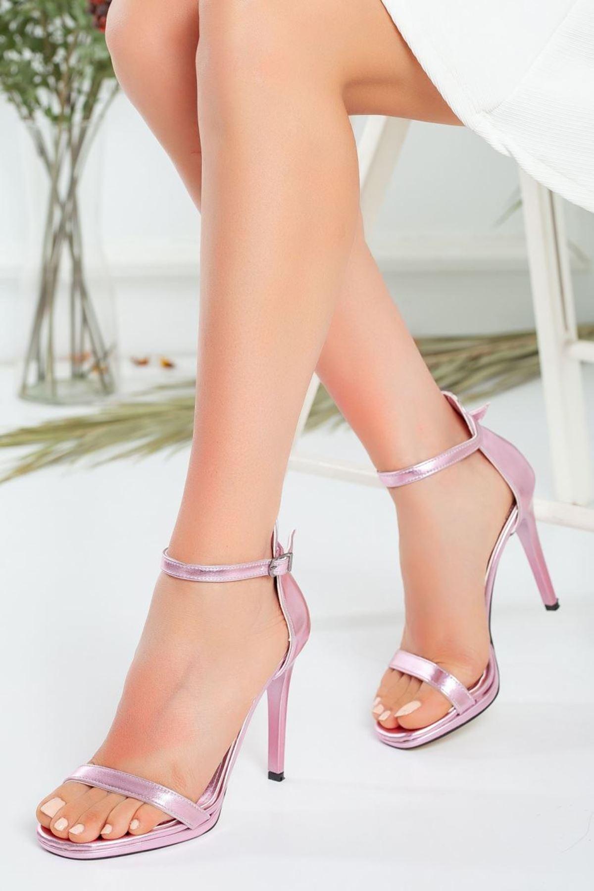 Kadın Natis Yüksek Topuklu Ayakkabı Metalik Pembe