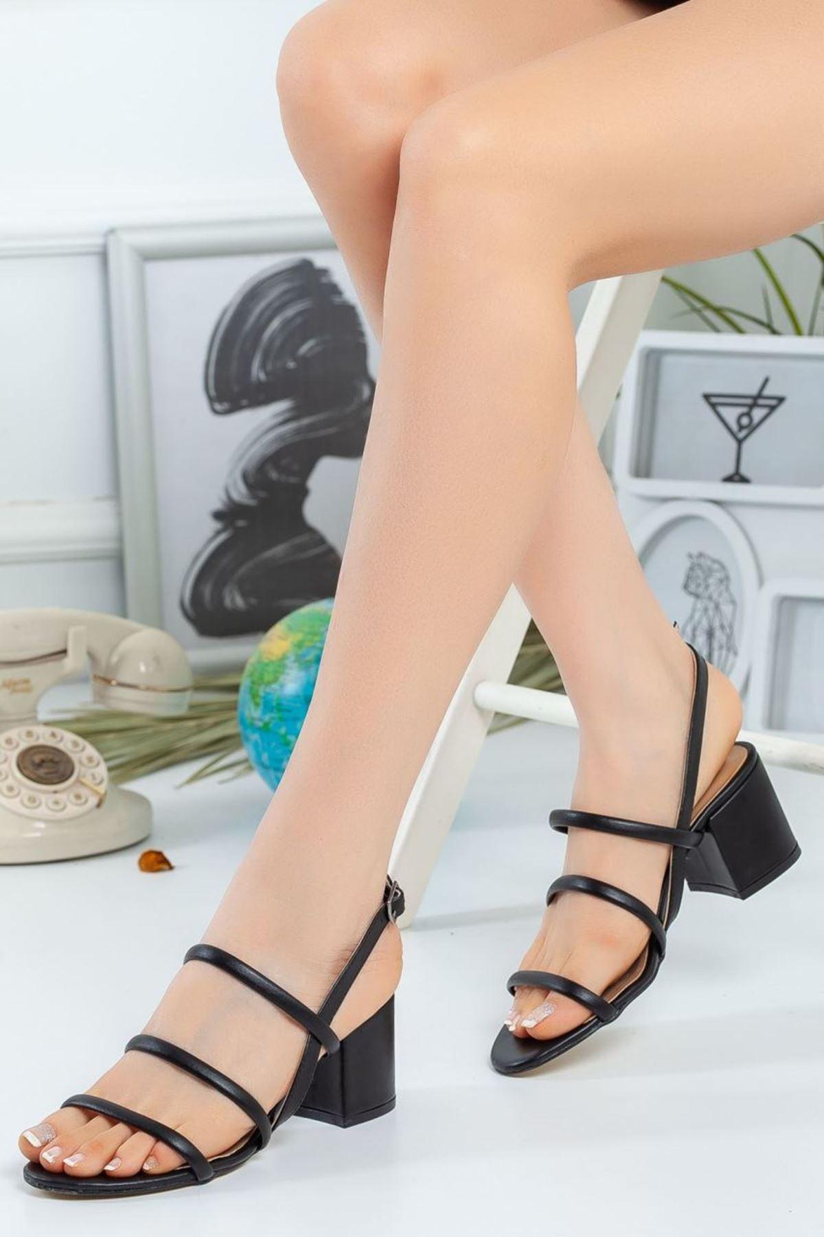 Kadın Cemi Topuklu Ayakkabı Mat Deri Siyah