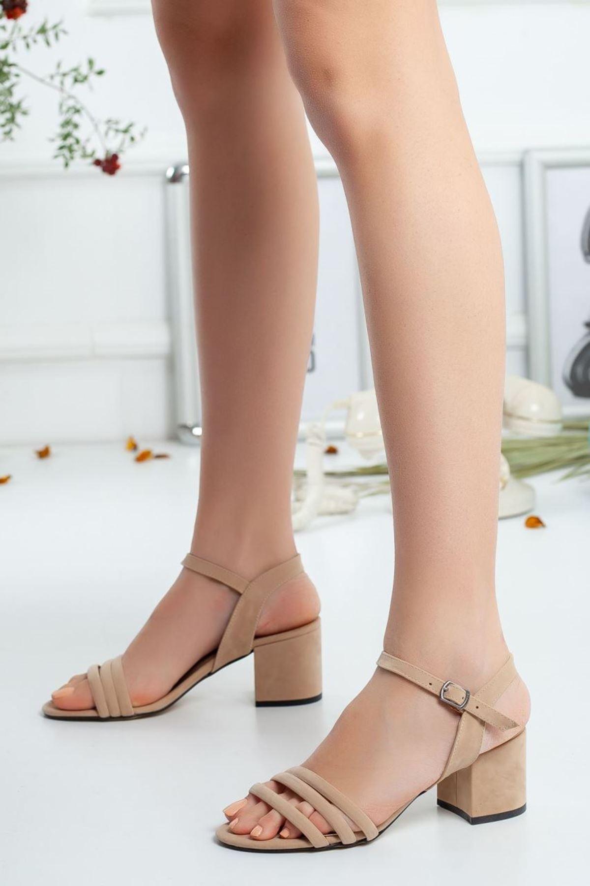 Kadın Holla Kısa Topuklu Ten Süet Ayakkabı