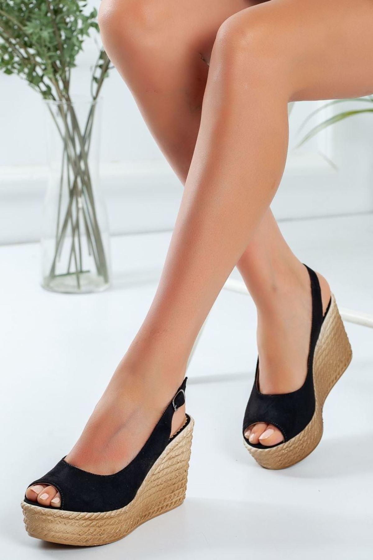 Kadın Enka Dolgu Taban Ayakkabı Süet Siyah