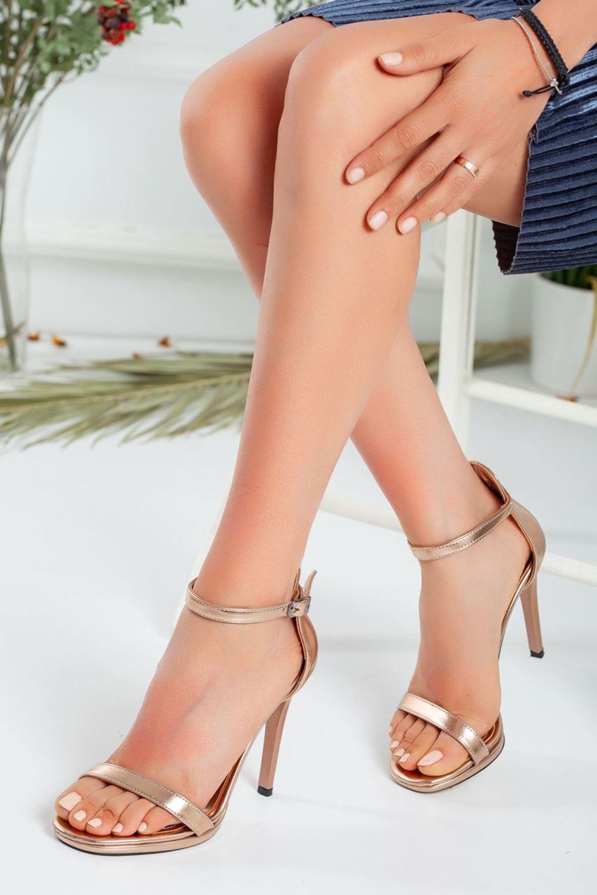 Kadın Natis Yüksek Topuklu Ayakkabı Parlak Bronz