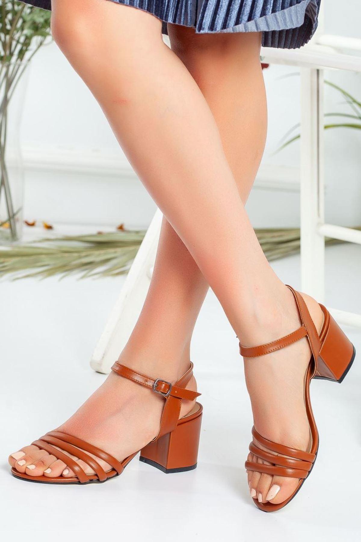 Kadın Holla Kısa Topuklu Mat Deri Taba Ayakkabı