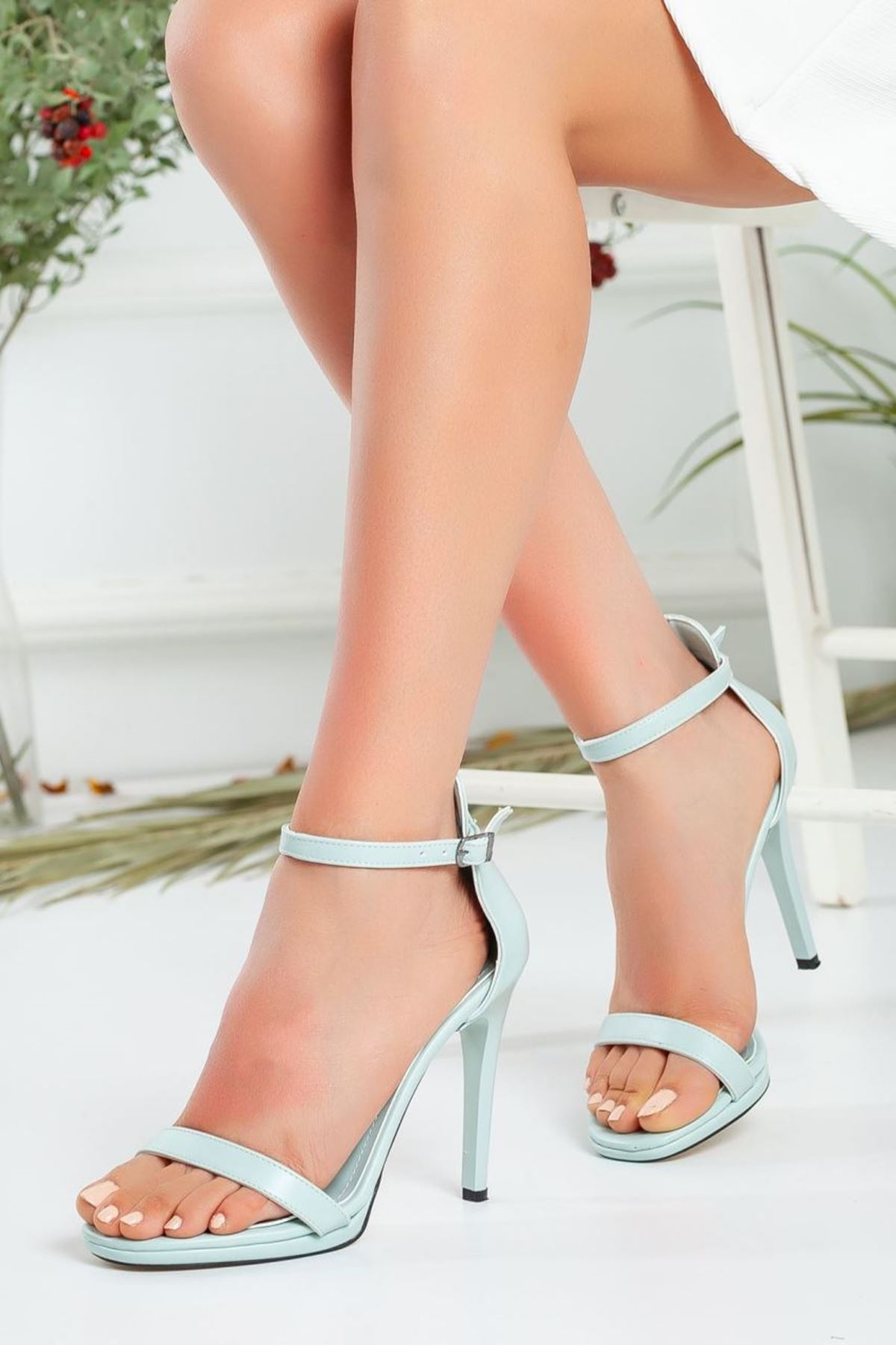 Kadın Natis Yüksek Topuklu Ayakkabı Mat Deri Su Yeşili