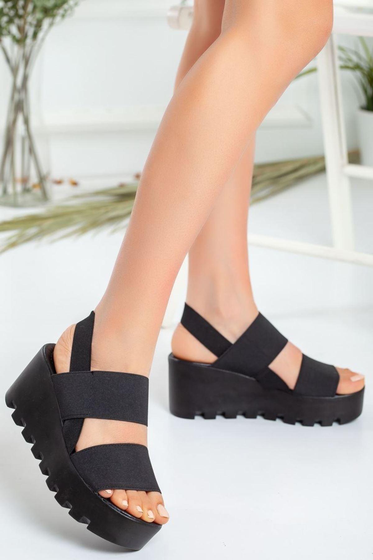 Kadın Laden Dolgu Lastik Sandalet Siyah