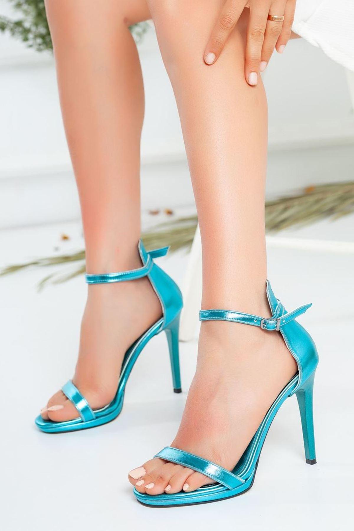 Kadın Natis Yüksek Topuklu Ayakkabı Metalik Mavi