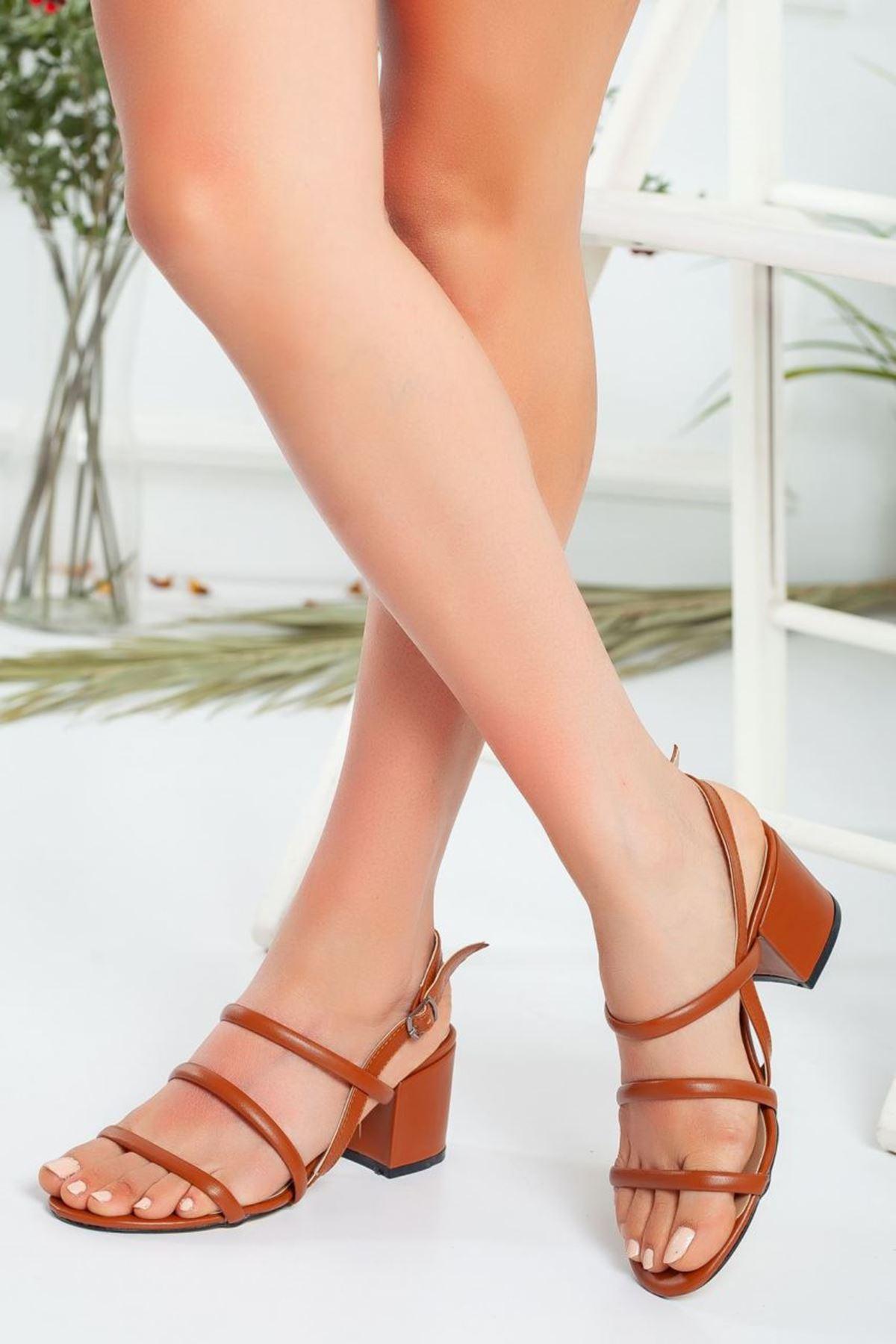Kadın Cemi Topuklu Ayakkabı Mat Deri Taba