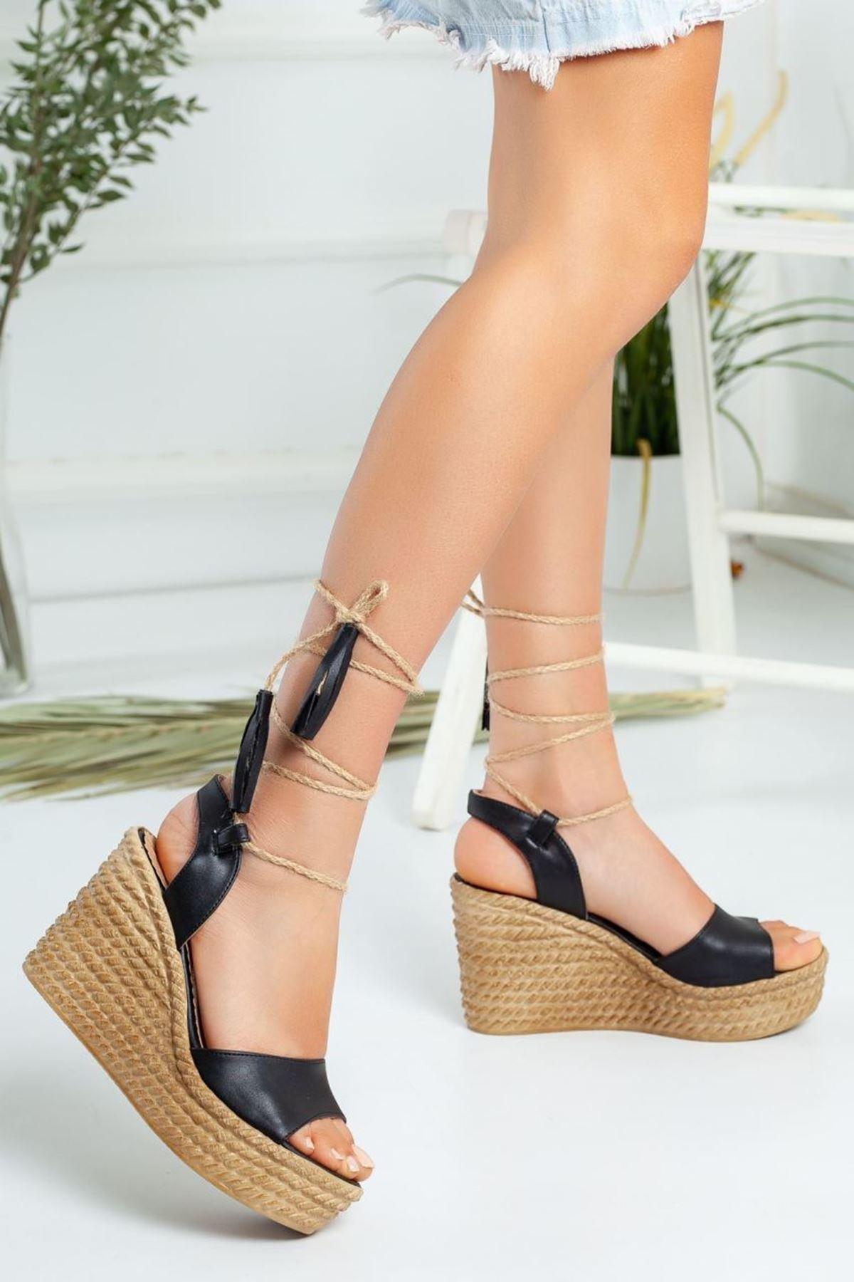 Kadın Glow Dolgu Taban Ayakkabı Mat Deri Siyah