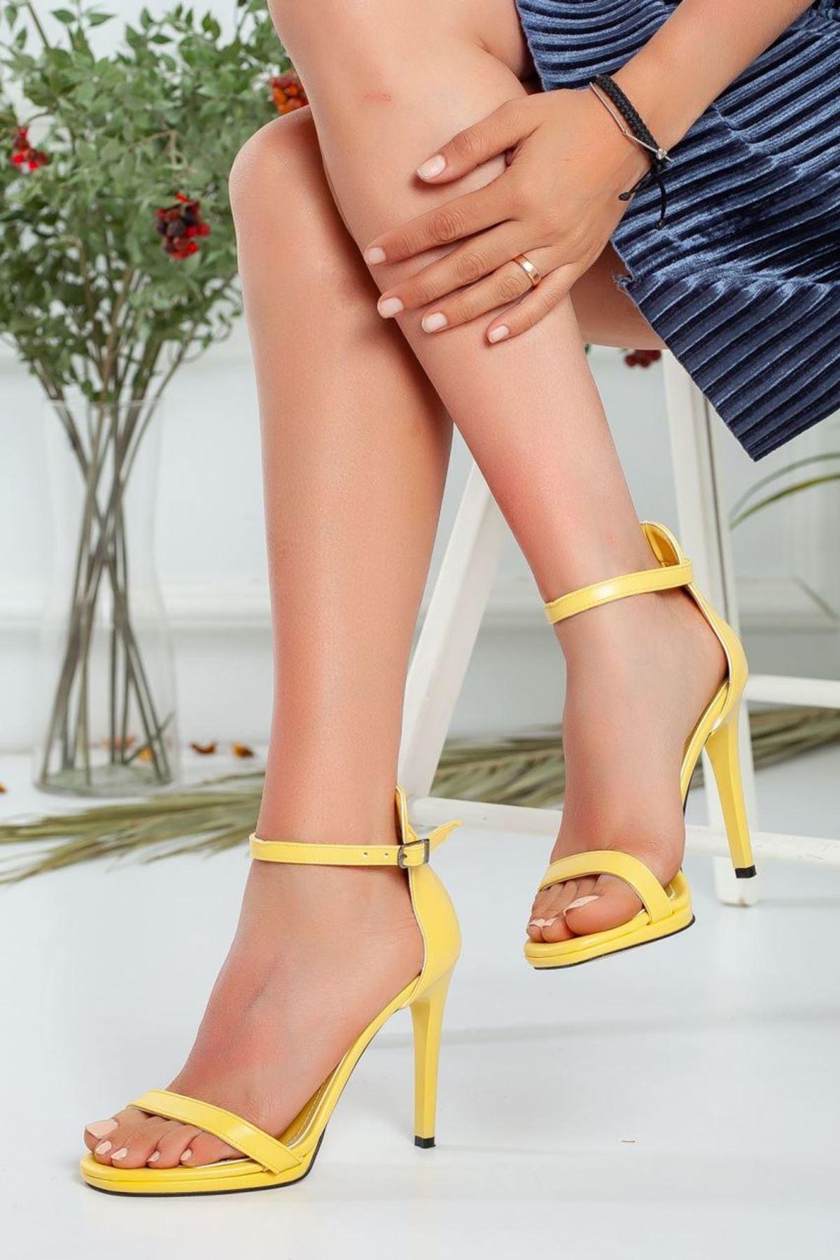 Kadın Natis Yüksek Topuklu Ayakkabı Mat Deri Sarı